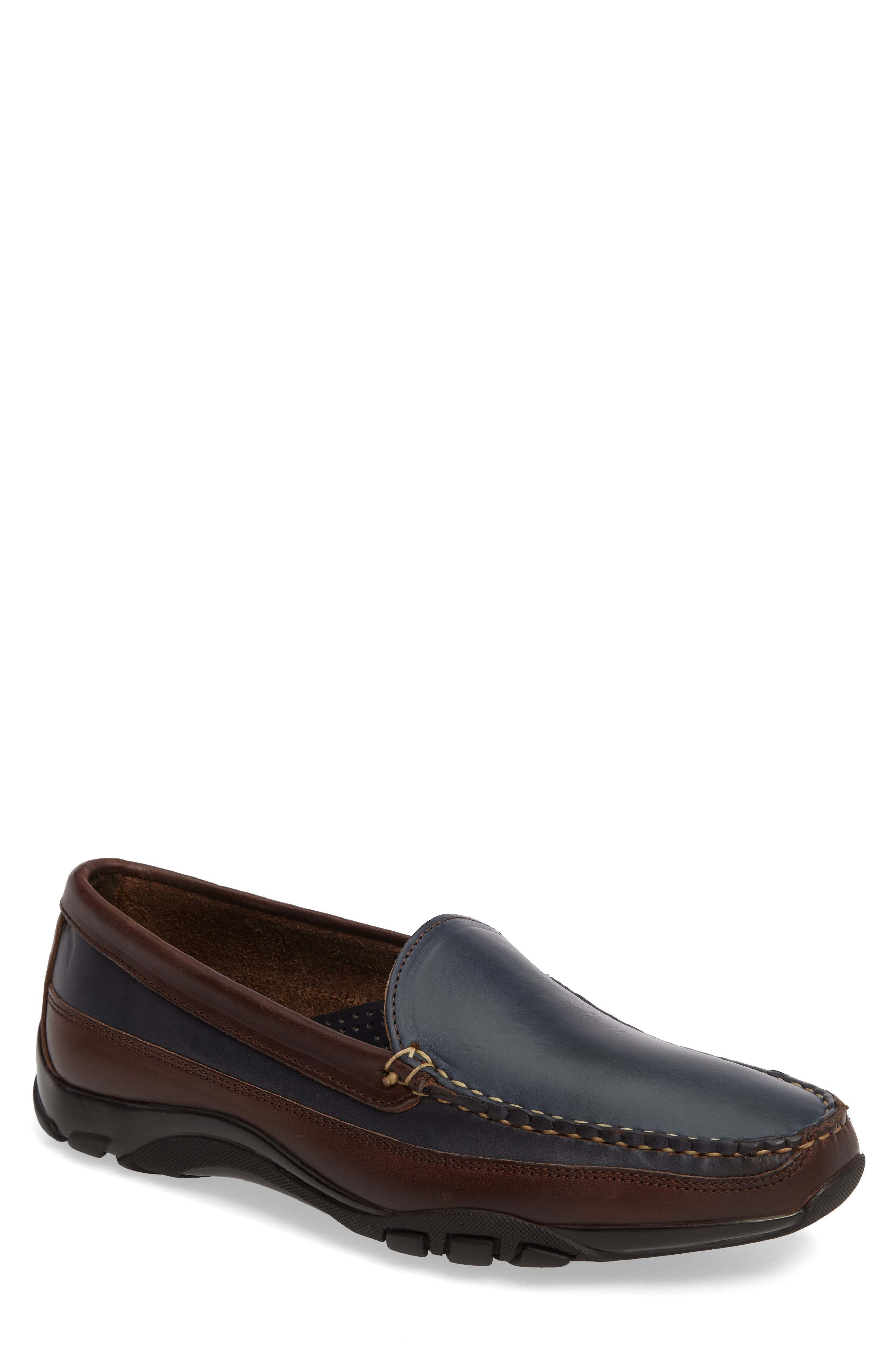 ALLEN EDMONDS, 'Boulder' Driving Loafer, Main thumbnail 1, color, NAVY/ BROWN