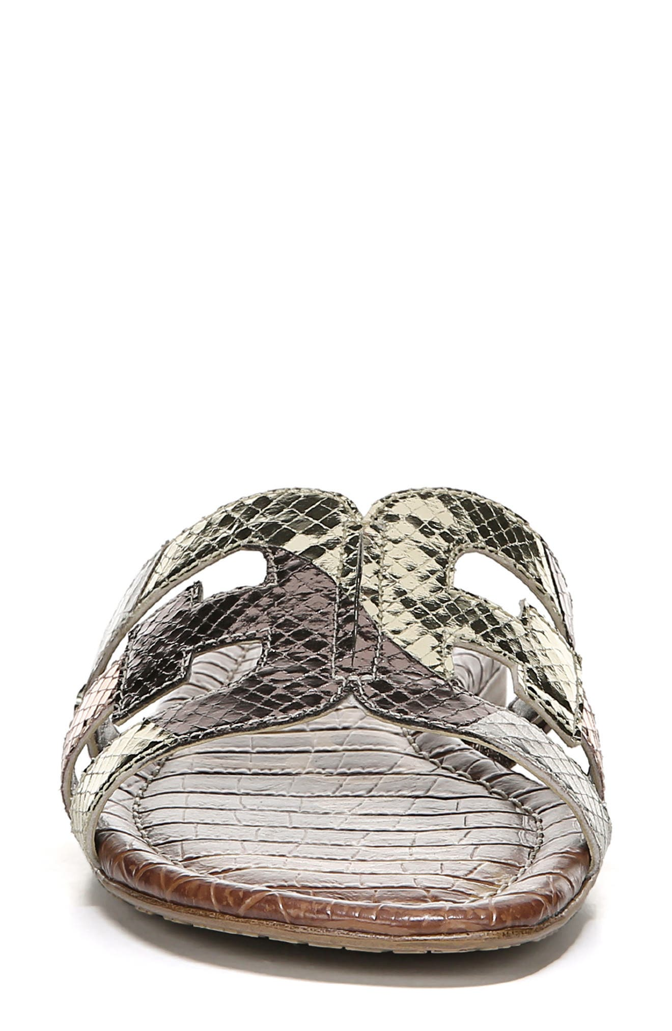 SAM EDELMAN, Bay Cutout Slide Sandal, Alternate thumbnail 3, color, METALLIC EMBOSSED LEATHER