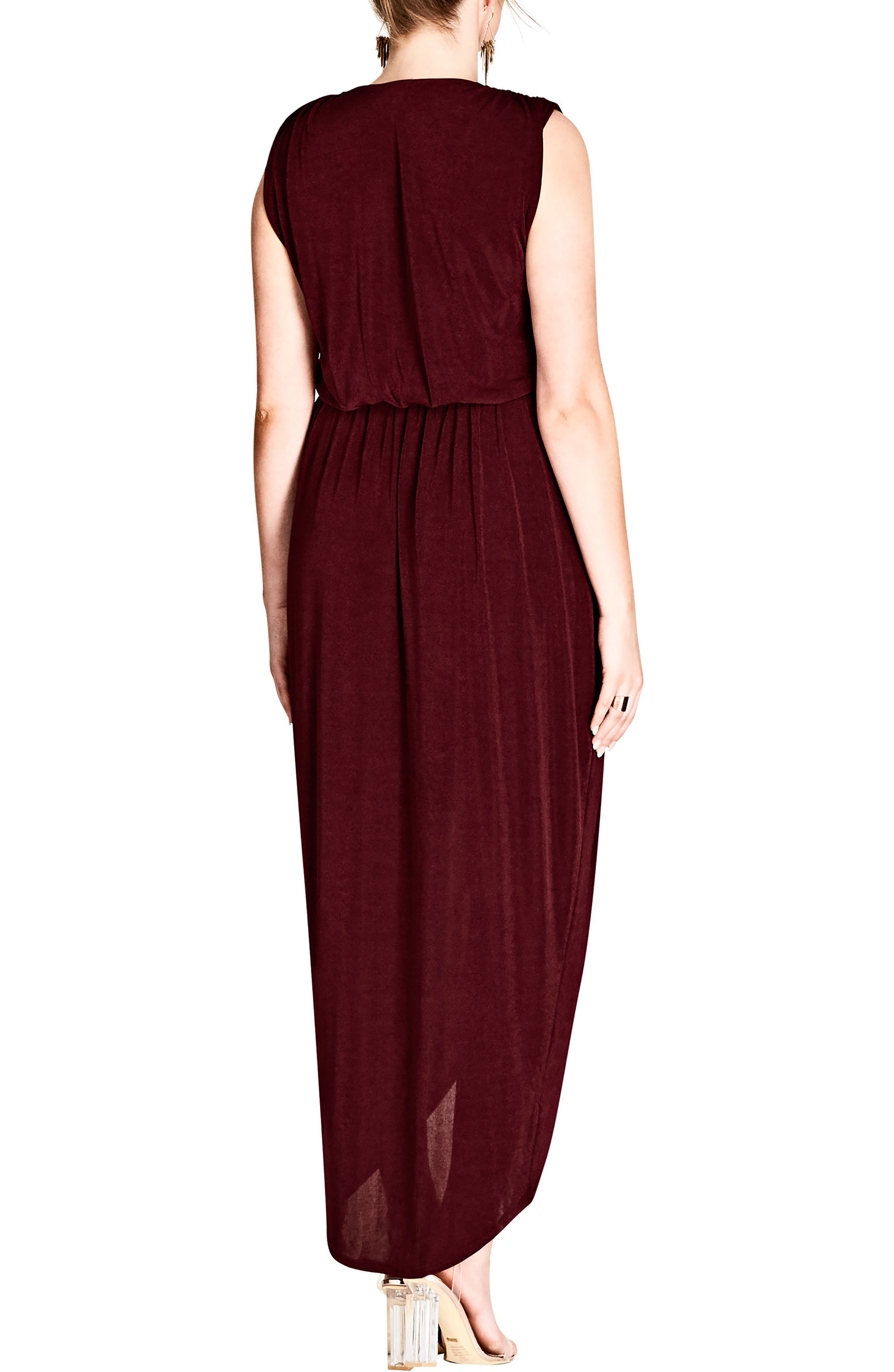 CITY CHIC, Sexy Slink Maxi Dress, Alternate thumbnail 2, color, RUBY