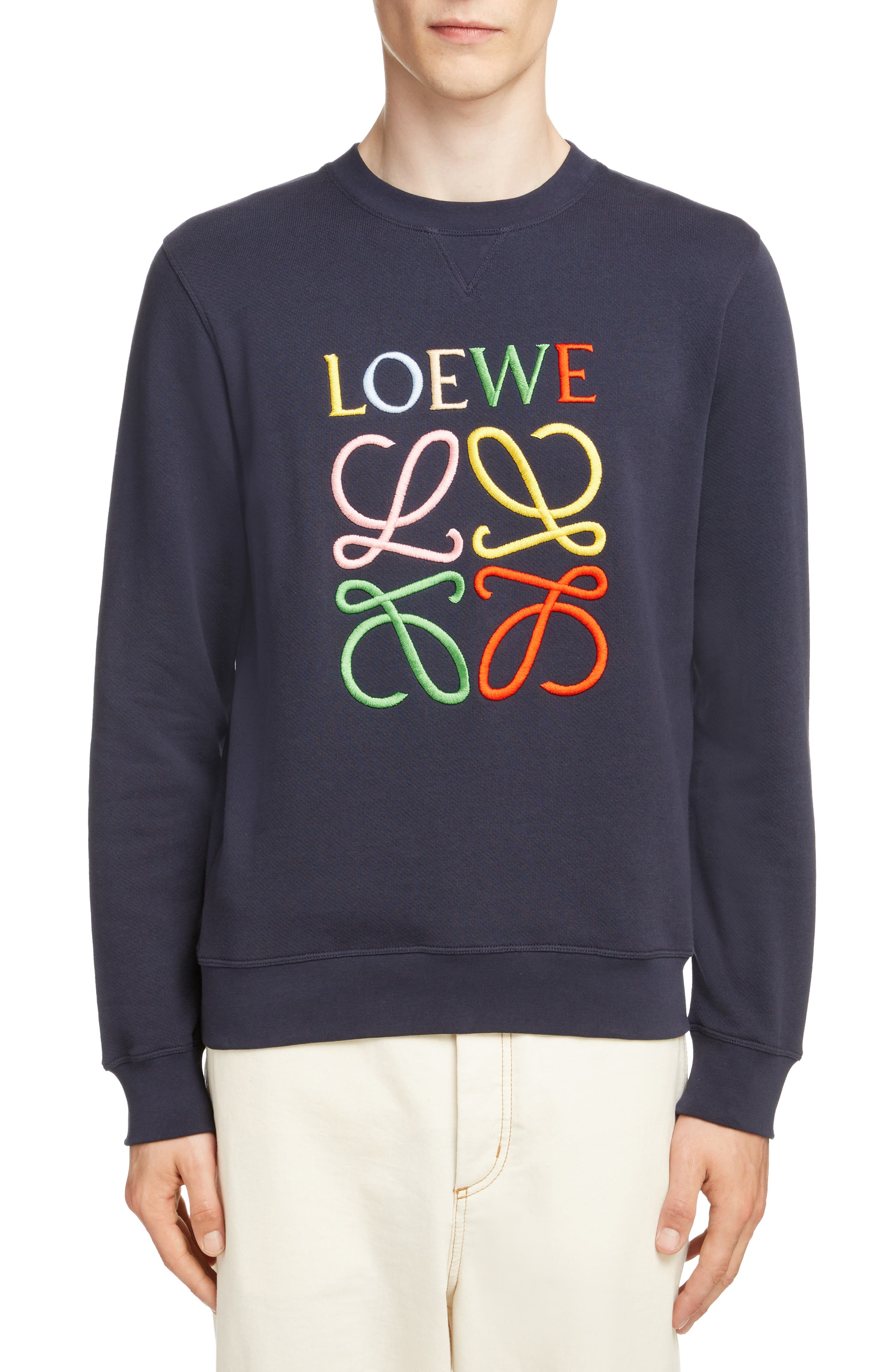 LOEWE, Anagram Sweatshirt, Main thumbnail 1, color, 5387-NAVY BLUE/ MULTICOLOR