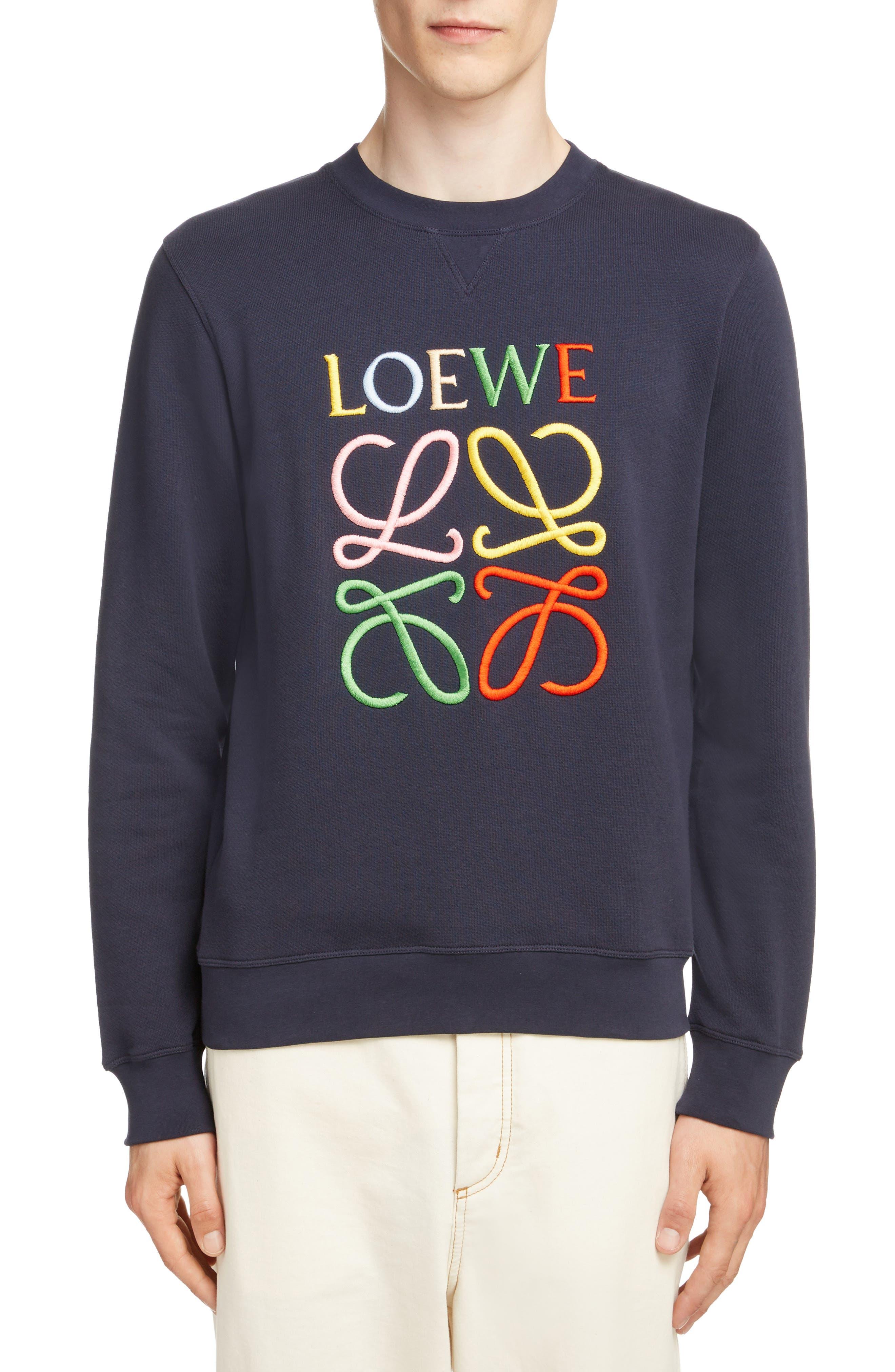 LOEWE Anagram Sweatshirt, Main, color, 5387-NAVY BLUE/ MULTICOLOR
