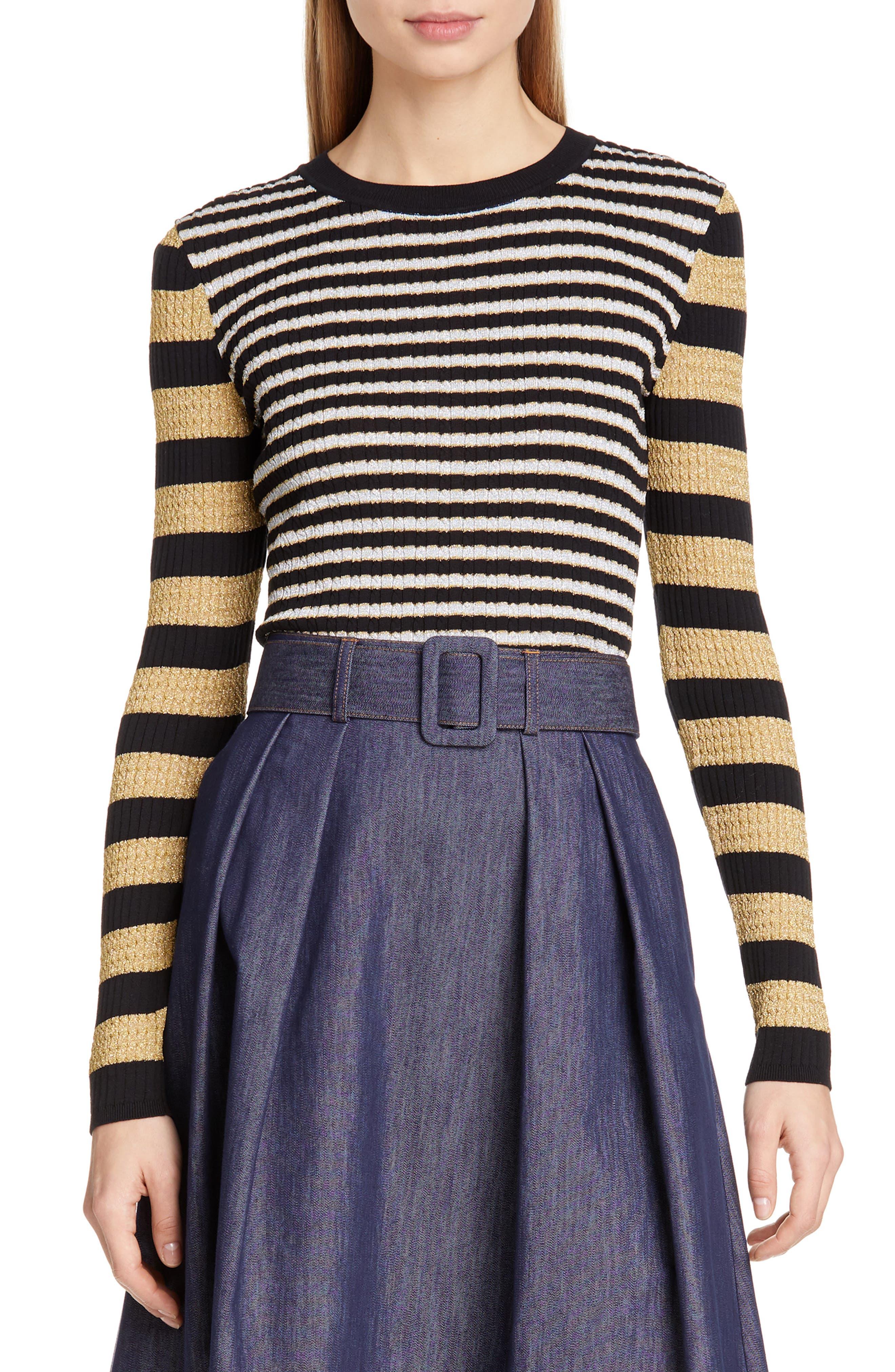 TOMMY X ZENDAYA, Metallic Stripe Knit Top, Main thumbnail 1, color, BLACK BEAUTY MULTI