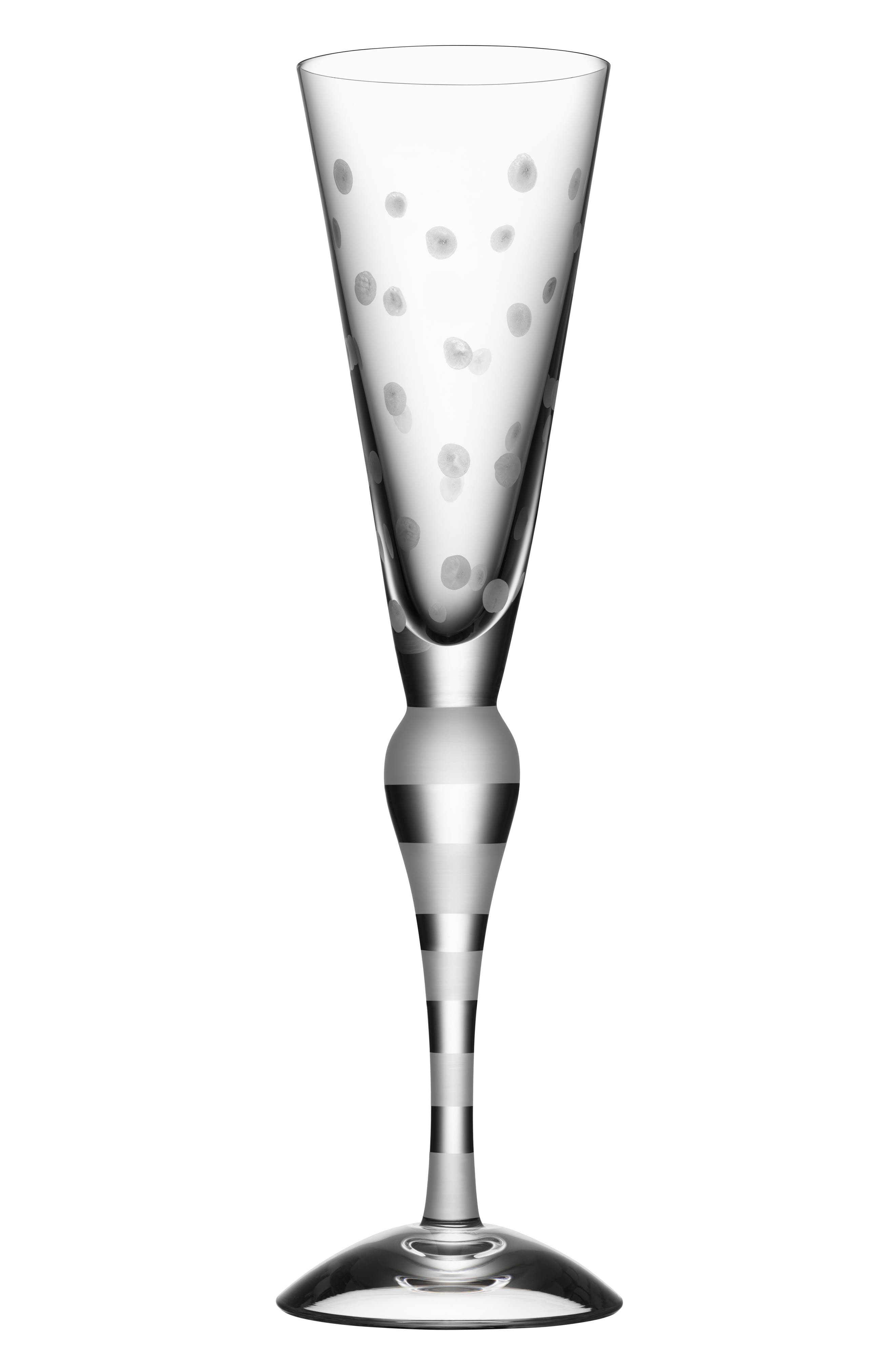 ORREFORS, Clown Frost Dots Lead Crystal Champagne Flute, Main thumbnail 1, color, CLEAR