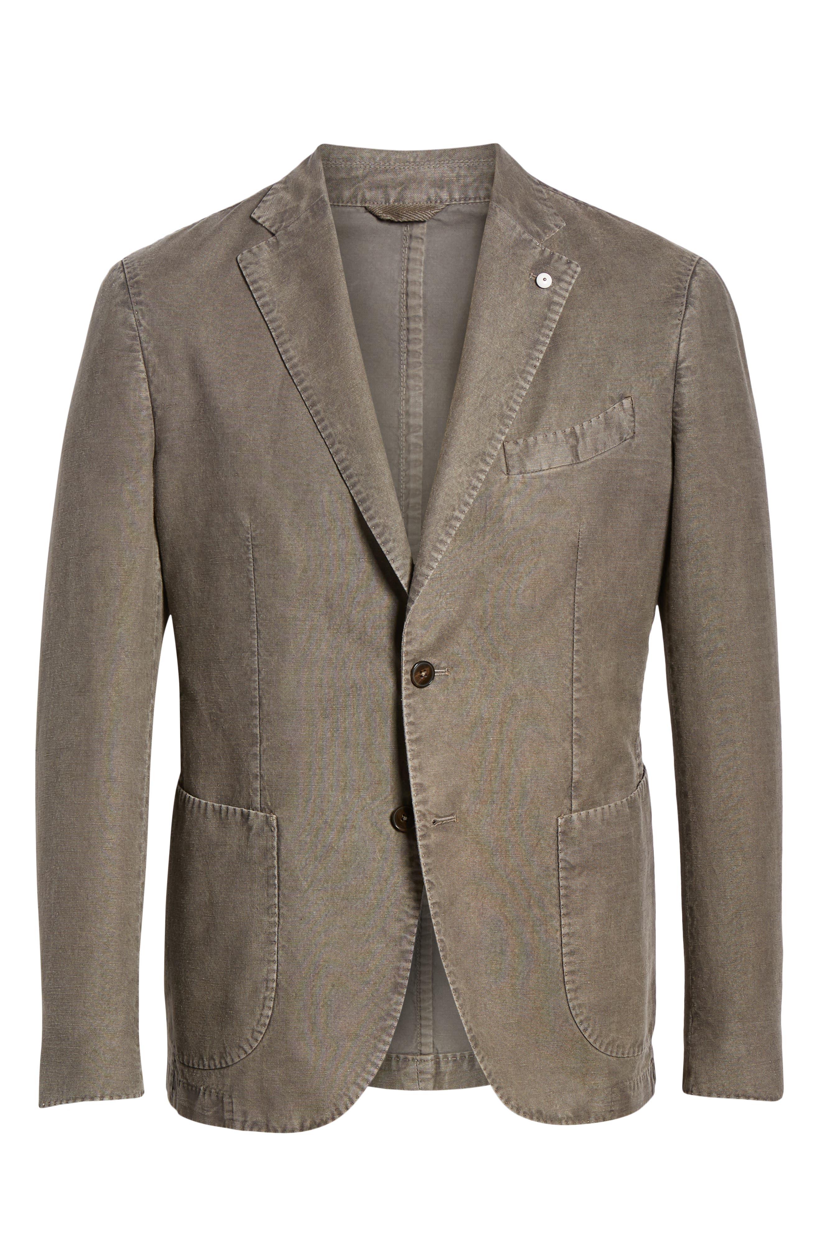 L.B.M. 1911, Lubiam Trim Fit Solid Cotton & Linen Sport Coat, Alternate thumbnail 5, color, MEDIUM BROWN