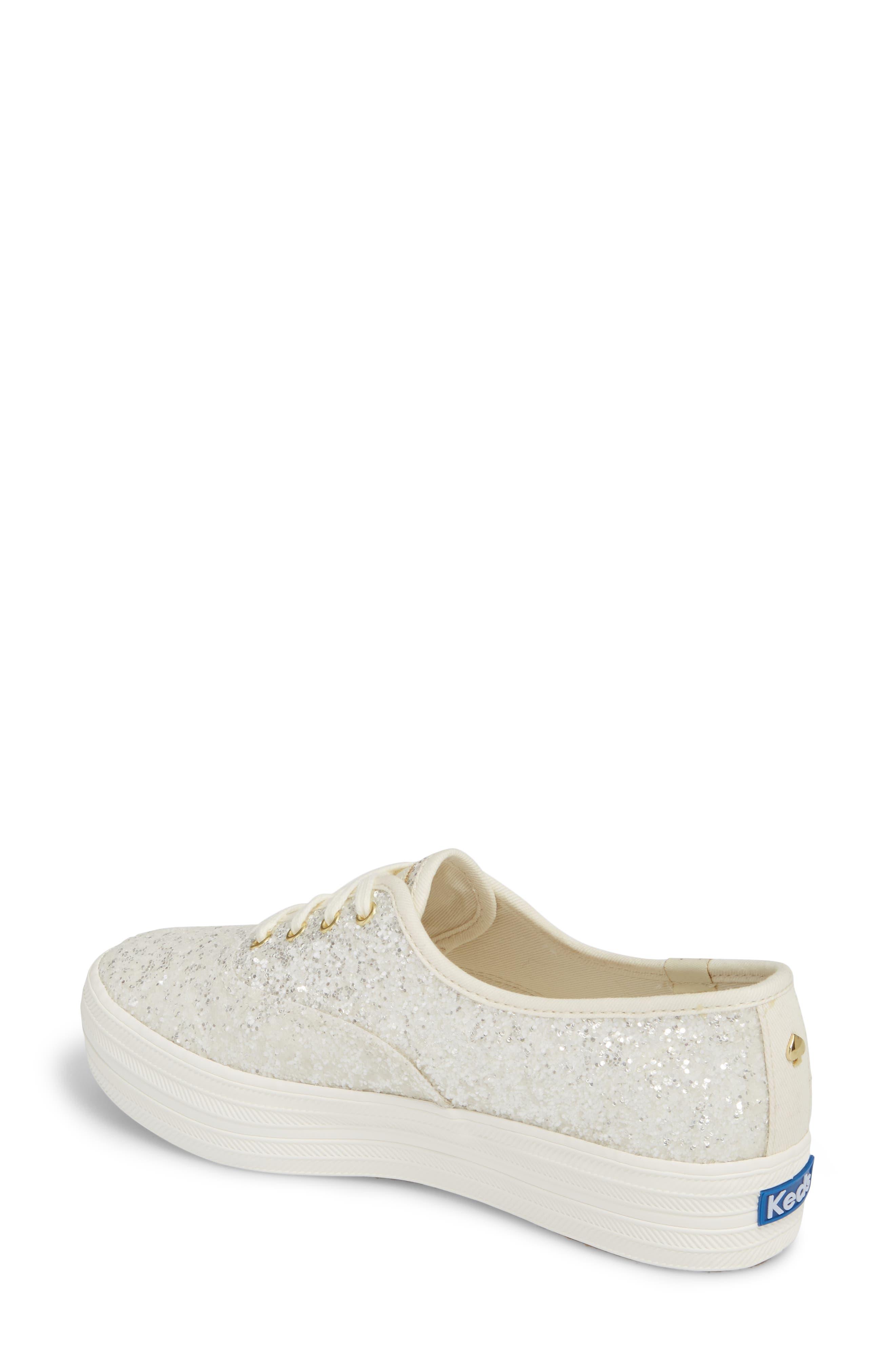 KEDS<SUP>®</SUP> FOR KATE SPADE NEW YORK, triple decker glitter sneaker, Alternate thumbnail 2, color, CREAM