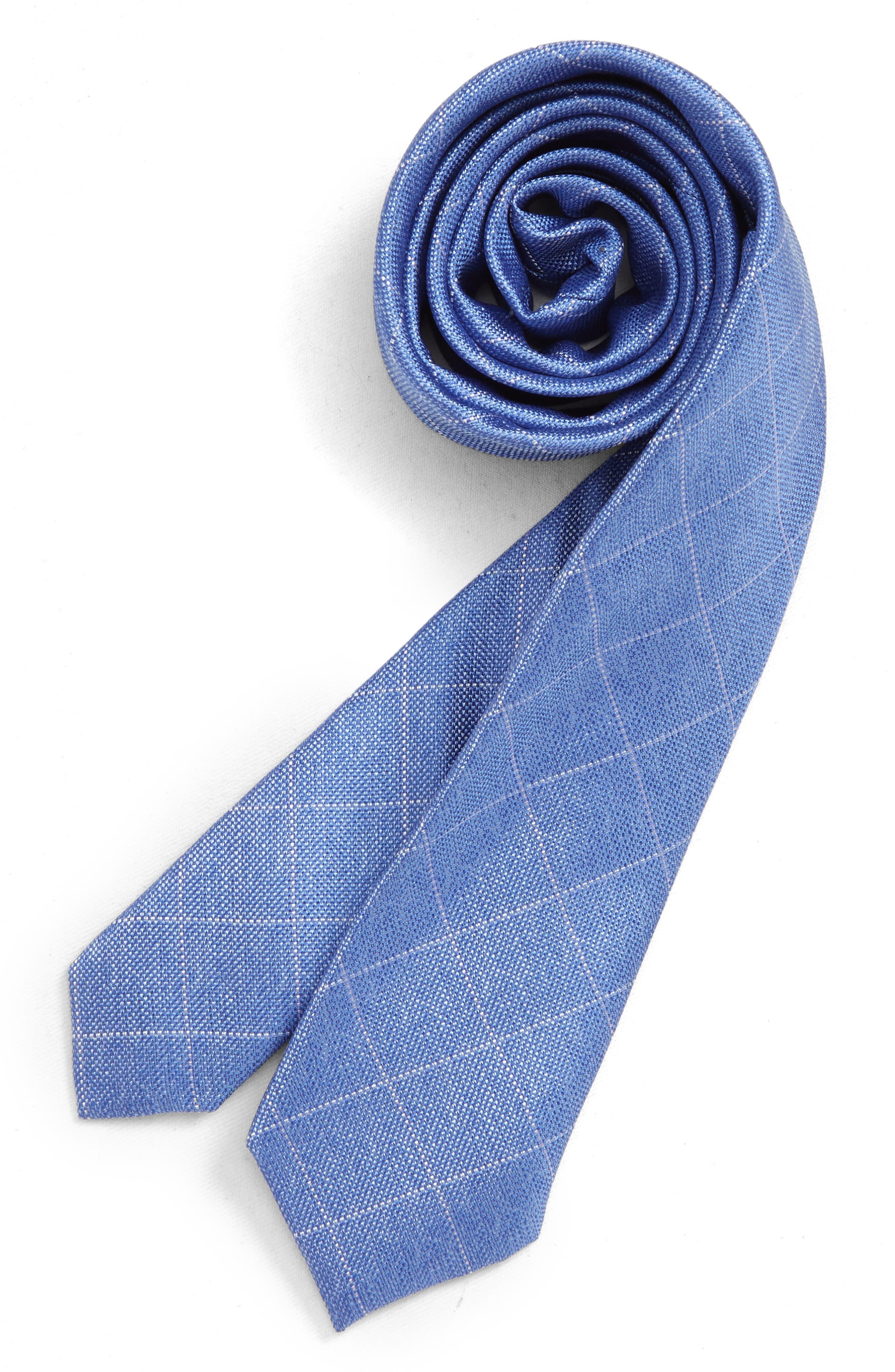 NORDSTROM, Isaiah Grid Silk Tie, Main thumbnail 1, color, BLUE