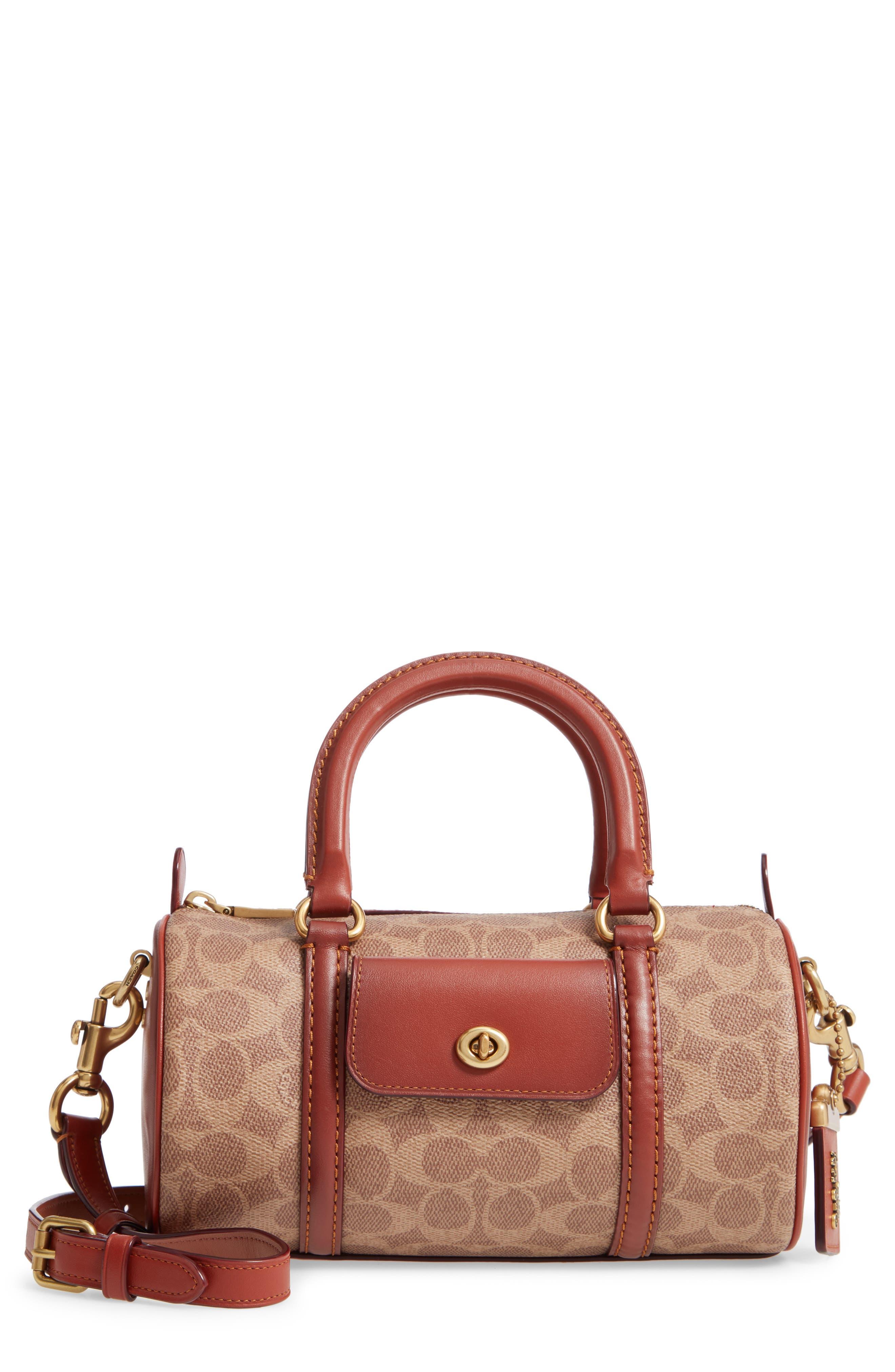 COACH Leather Barrel Bag, Main, color, B4/ TAN RUST