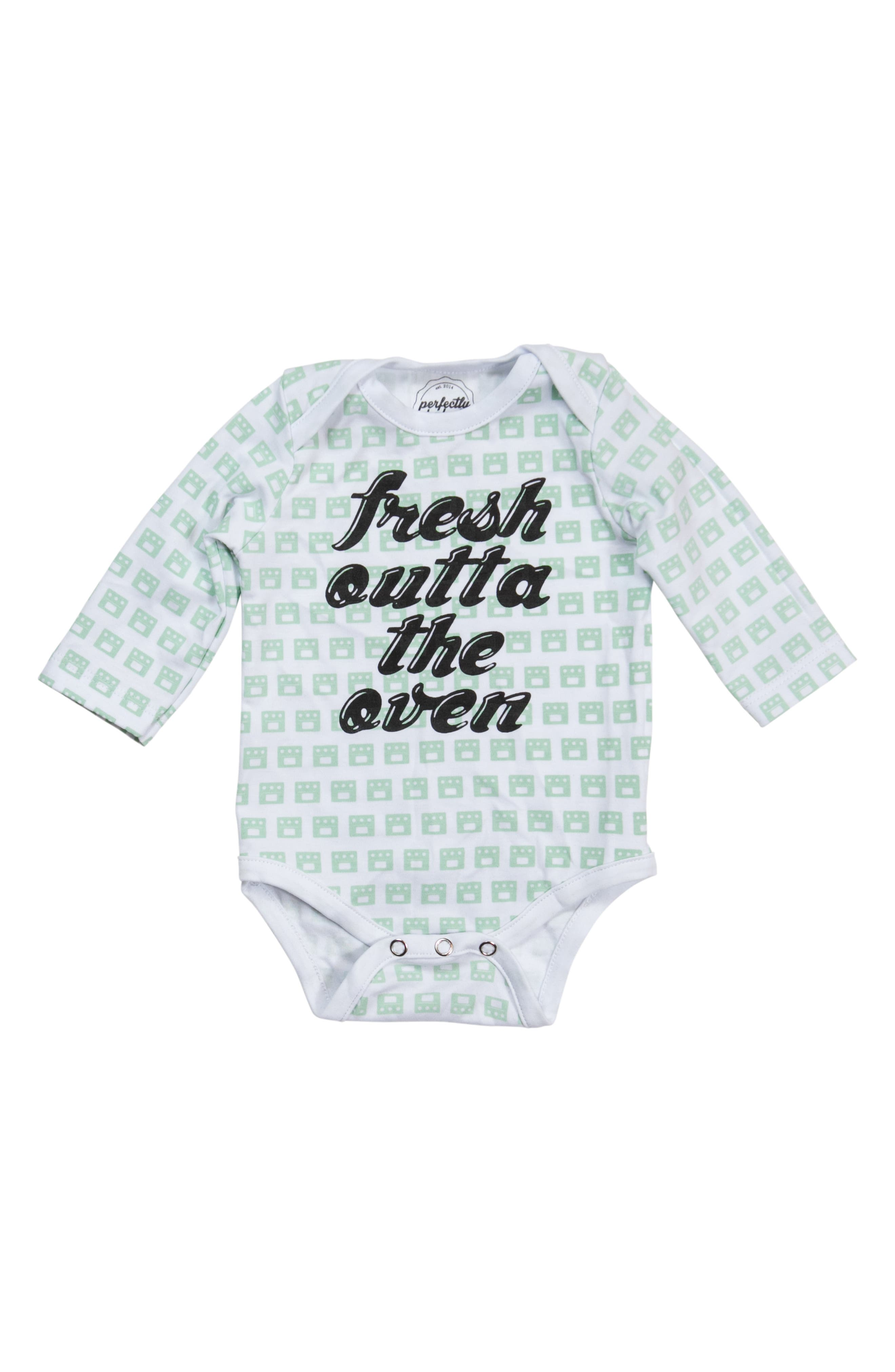 PERFECTLY BAKED Fresh Outta the Oven Bodysuit, Main, color, WHITE PATTERN