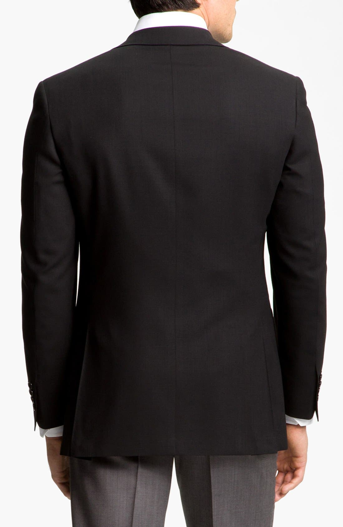 CANALI, Classic Fit Solid Wool Blazer, Alternate thumbnail 2, color, BLACK