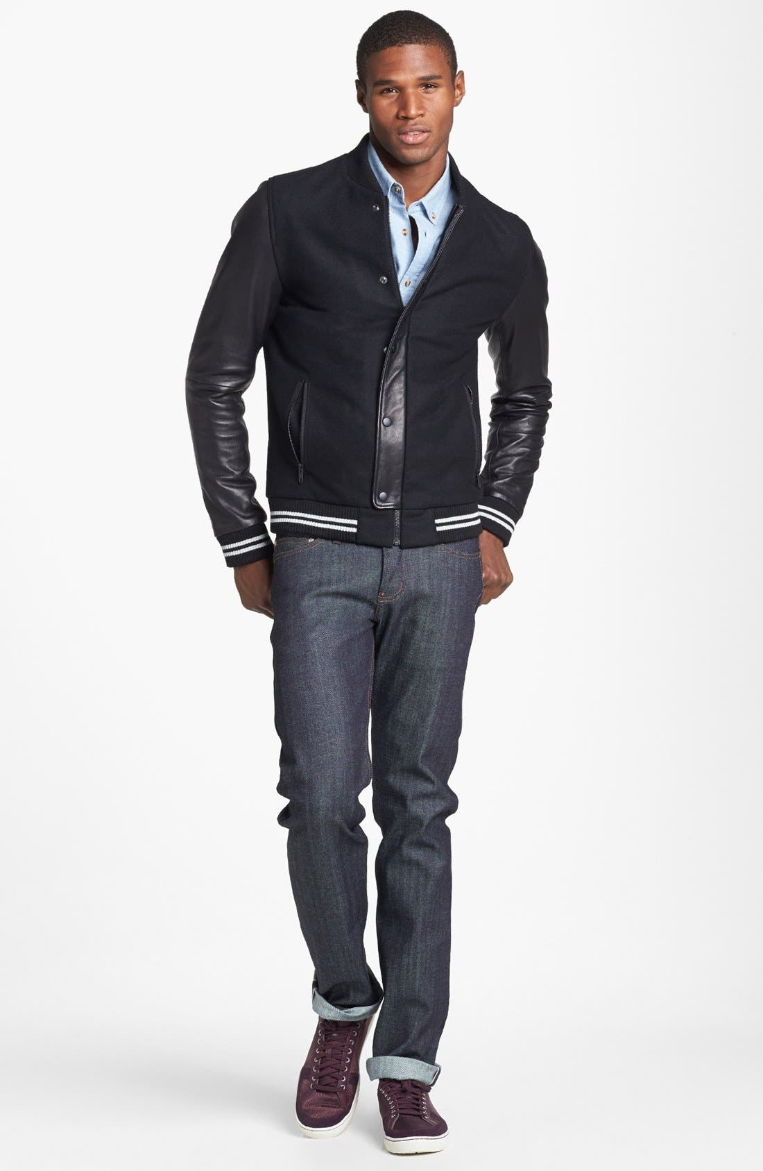 NAKED & FAMOUS DENIM, Weird Guy Slim Fit Raw Jeans, Alternate thumbnail 8, color, STRETCH SELVEDGE