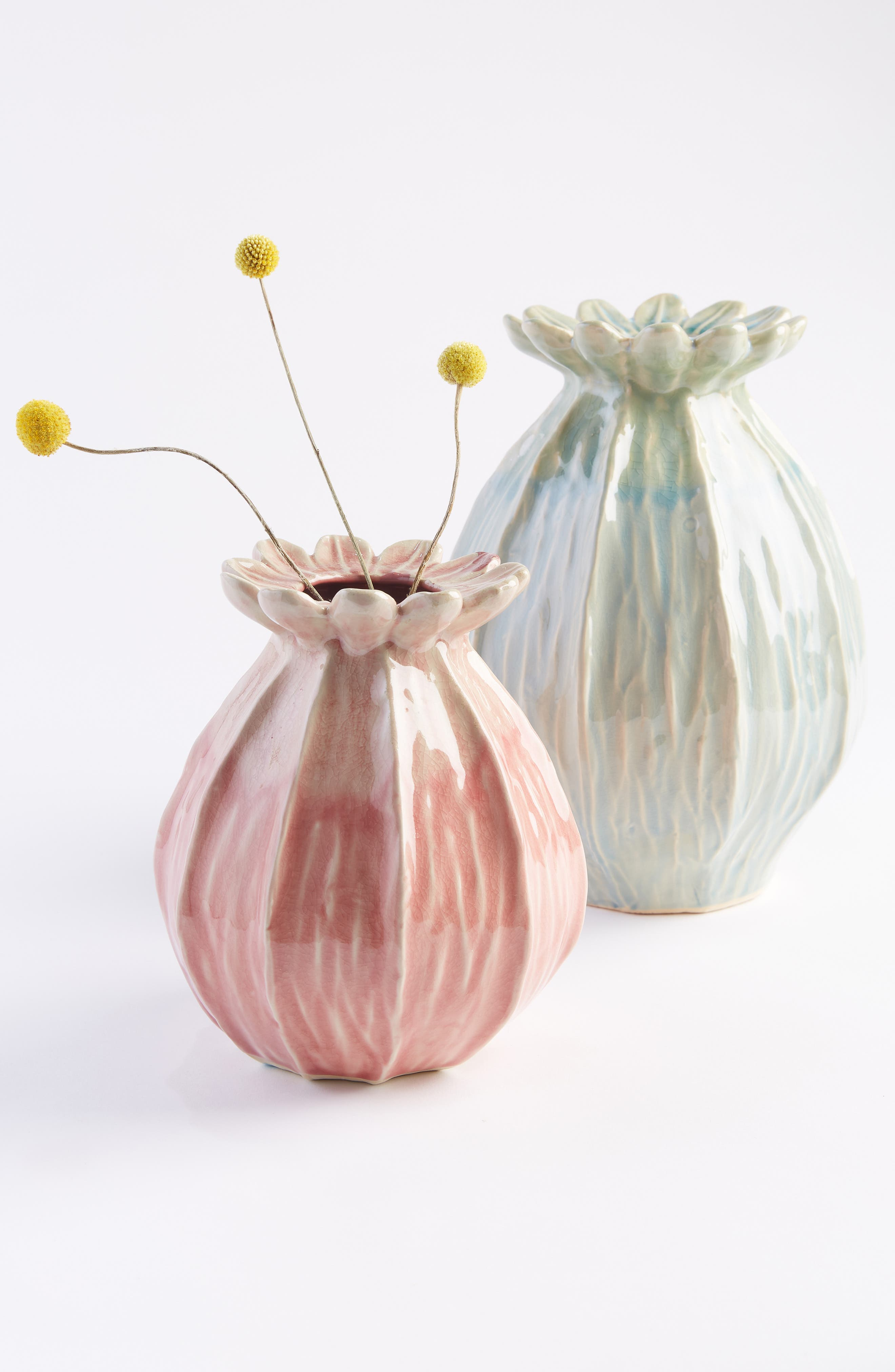 ANTHROPOLOGIE, Lotus Pod Vase, Alternate thumbnail 4, color, BLUE