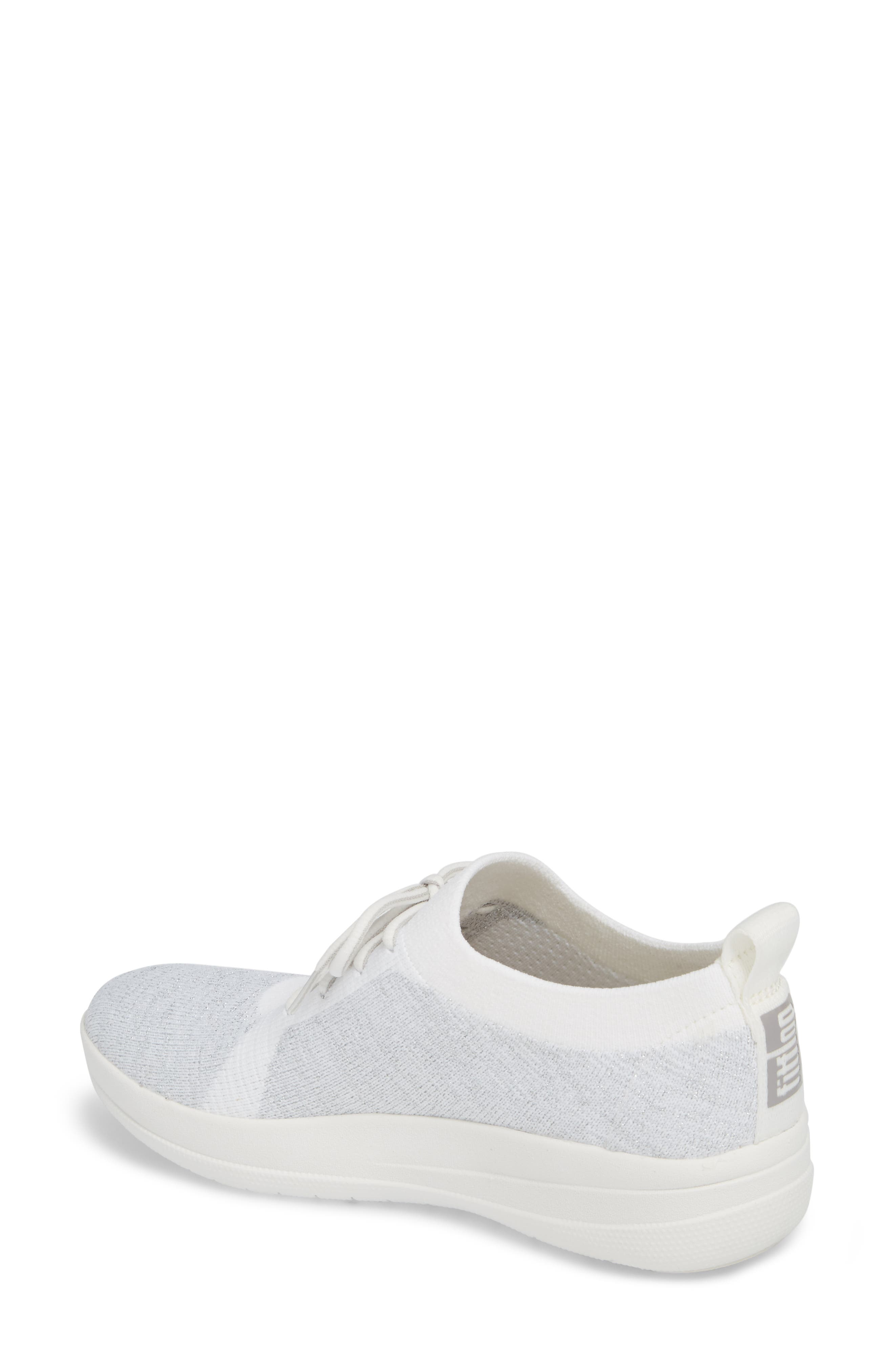 FITFLOP, Uberknit<sup>™</sup> F-Sporty Sneaker, Alternate thumbnail 2, color, METALLIC SILVER/ URBAN WHITE