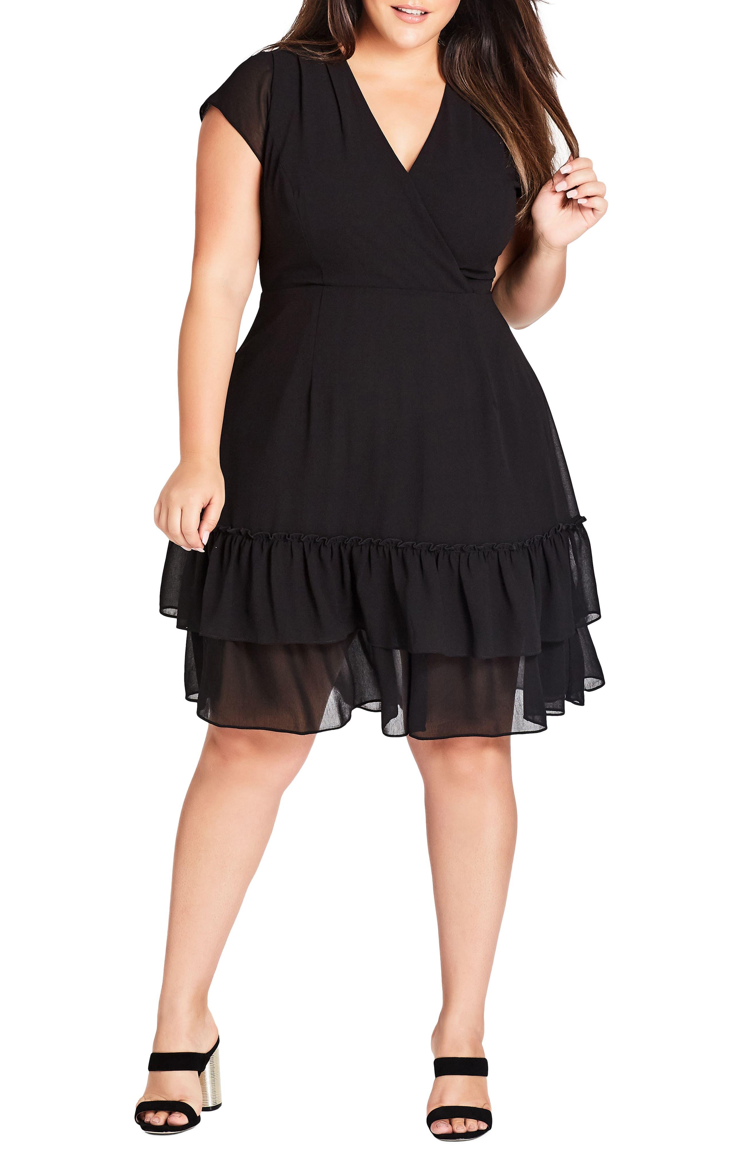 Plus Size City Chic Dreamy Fit & Flare Dress, Black