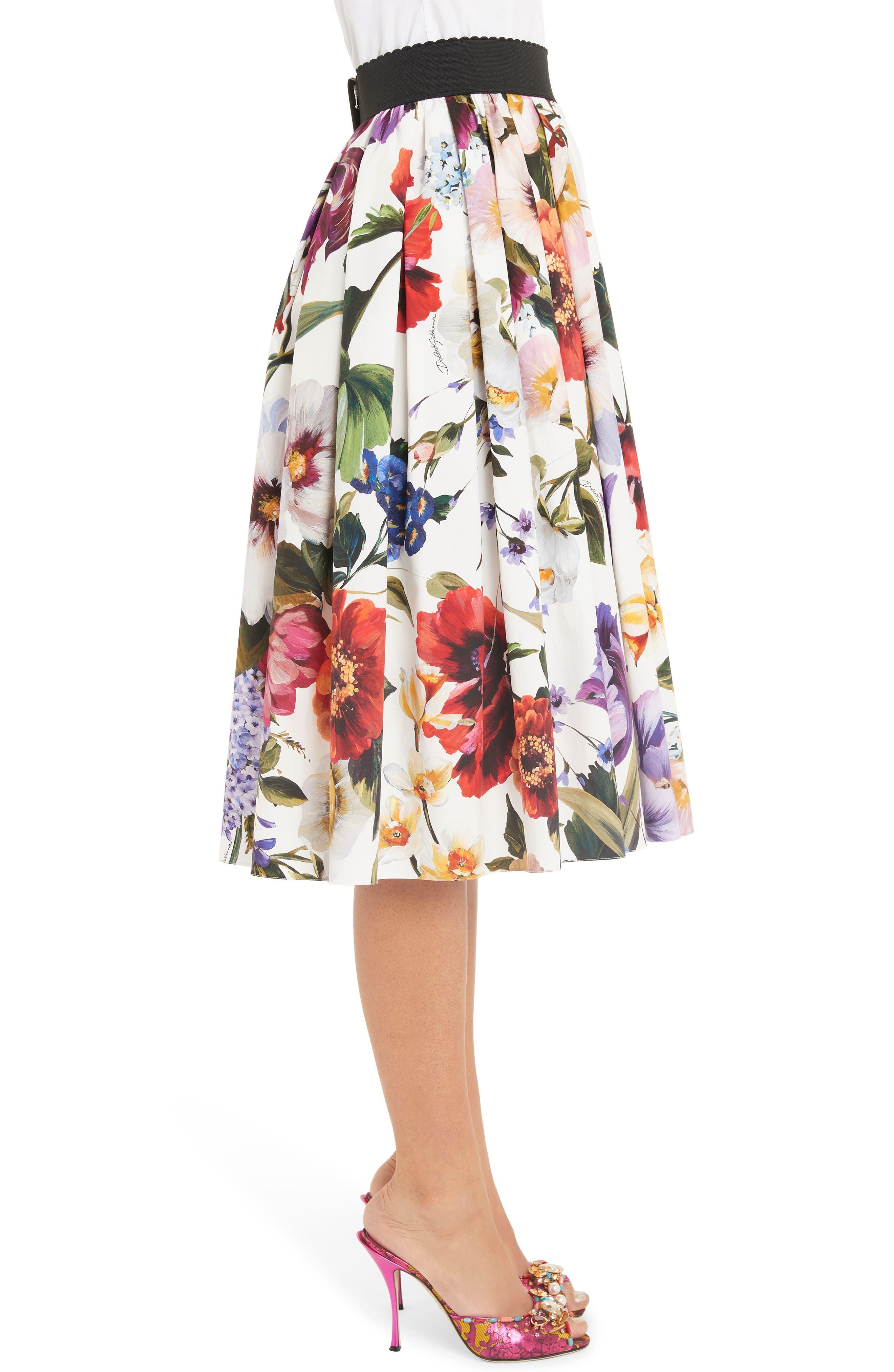 DOLCE&GABBANA, Floral Print A-Line Poplin Midi Skirt, Alternate thumbnail 3, color, PRINT