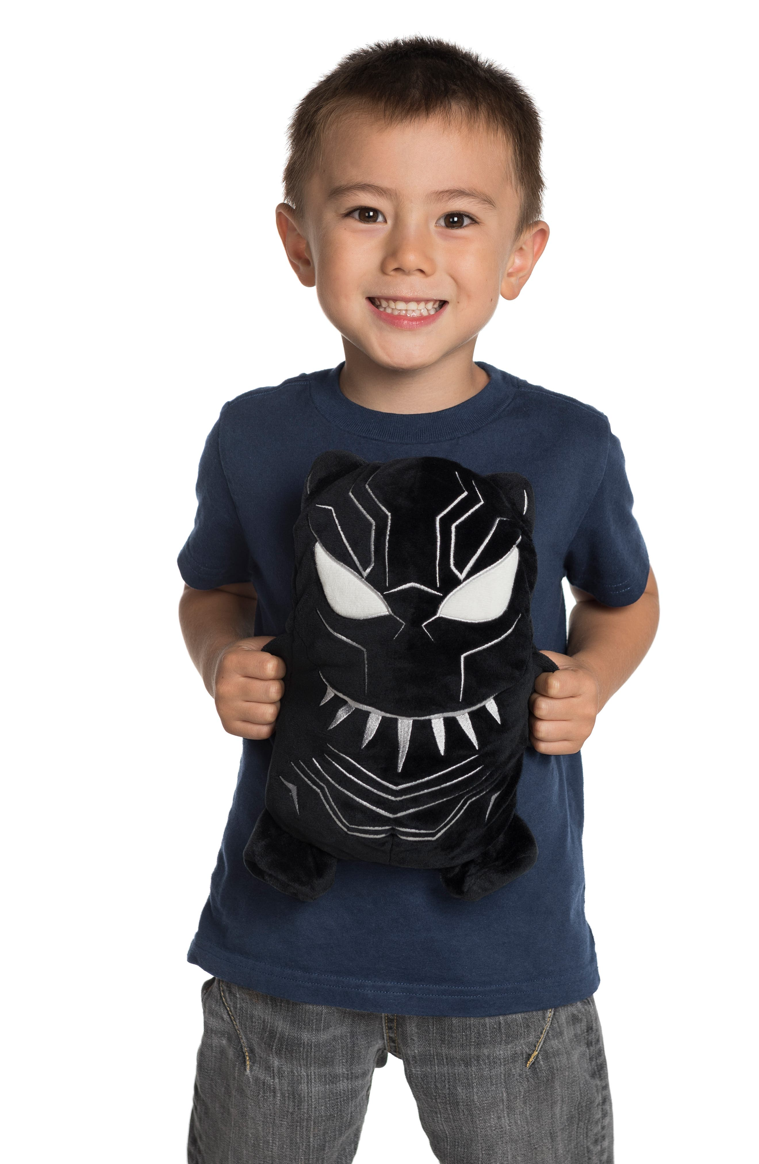 CUBCOATS, Marvel<sup>®</sup> 2018 Black Panther<sup>®</sup> 2-in-1 Stuffed Animal Hoodie, Alternate thumbnail 7, color, BLACK