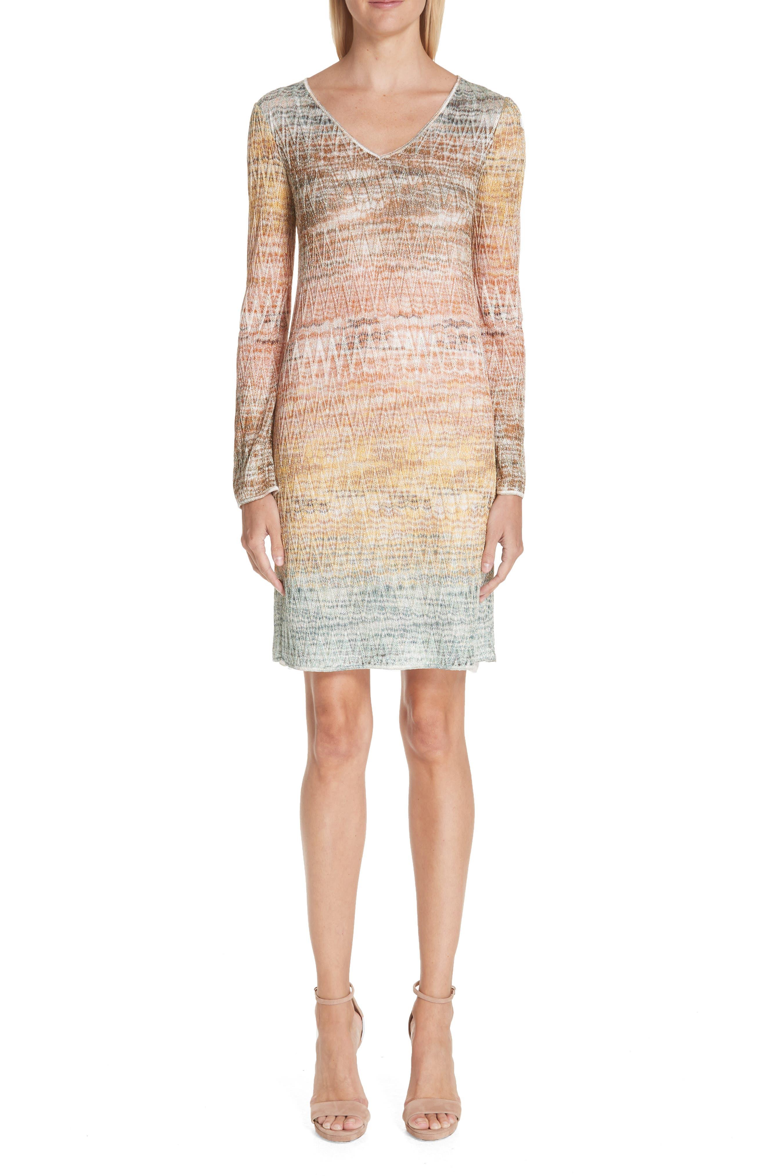 Missoni Zig Zag Metallic Knit Dress, US / 46 IT - White