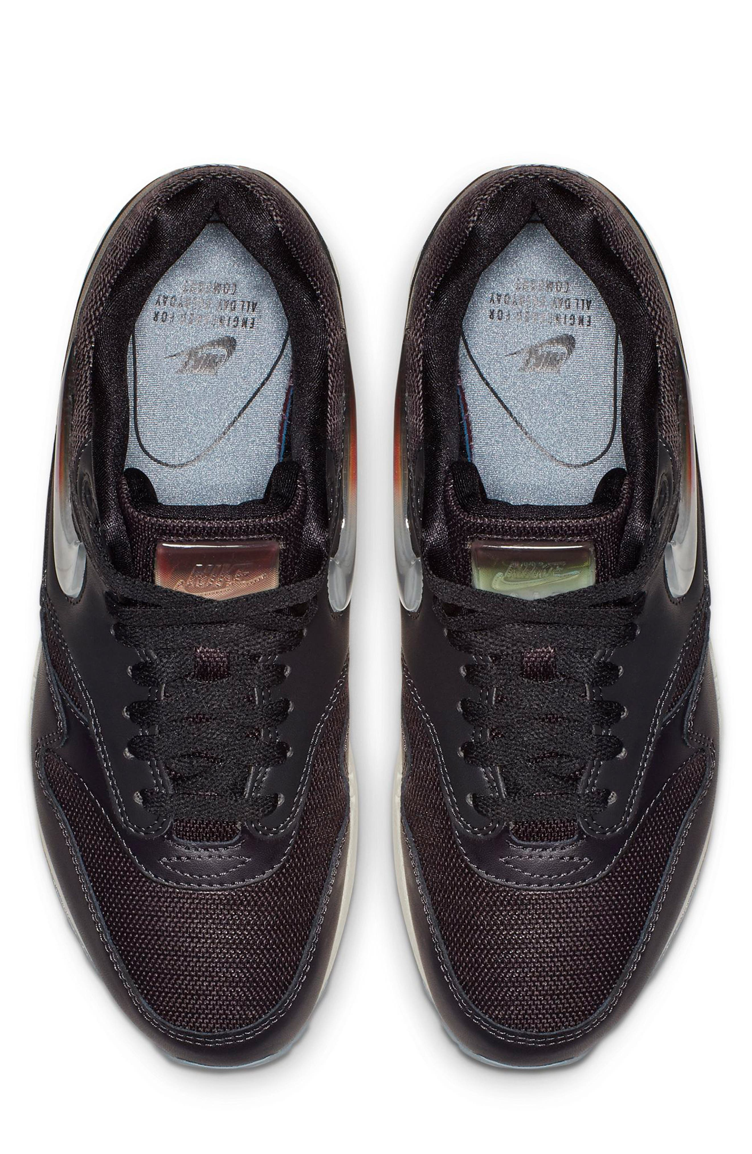 NIKE, Air Max 1 JP Sneaker, Alternate thumbnail 4, color, OIL GREY/ OBSIDIAN/ WHITE