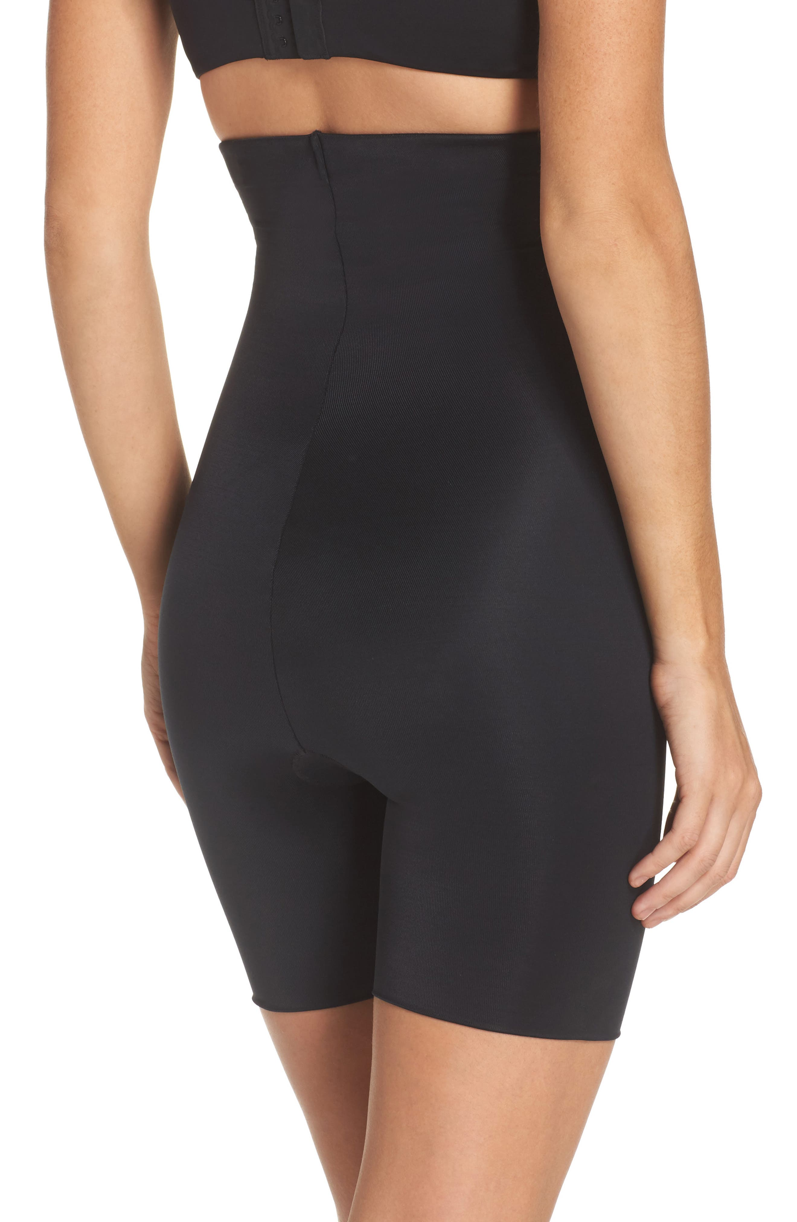 SPANX<SUP>®</SUP>, Power Conceal-Her High Waist Mid-Thigh Shaping Shorts, Alternate thumbnail 2, color, VERY BLACK