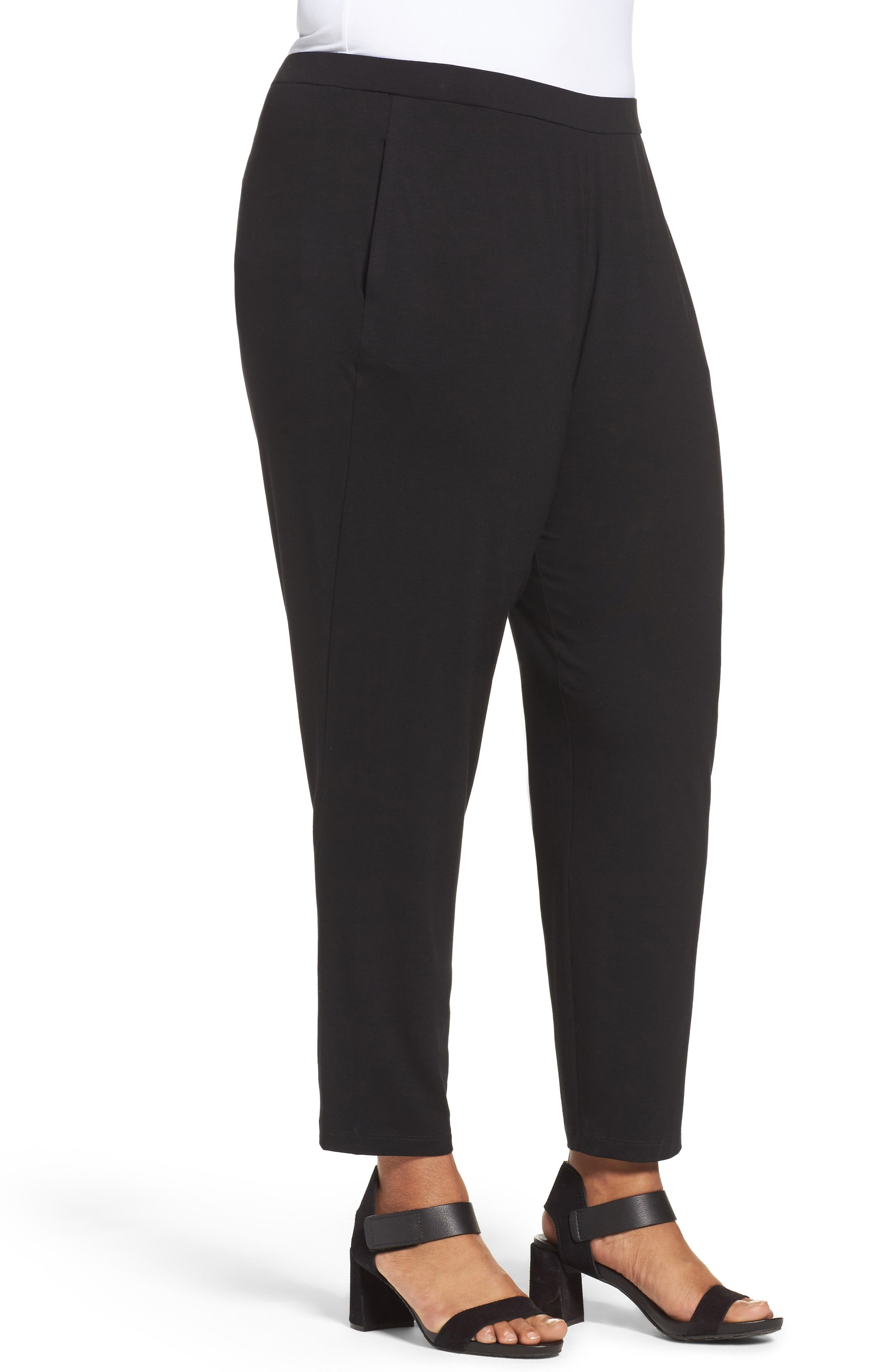 EILEEN FISHER, Crop Stretch Knit Pants, Alternate thumbnail 4, color, BLACK
