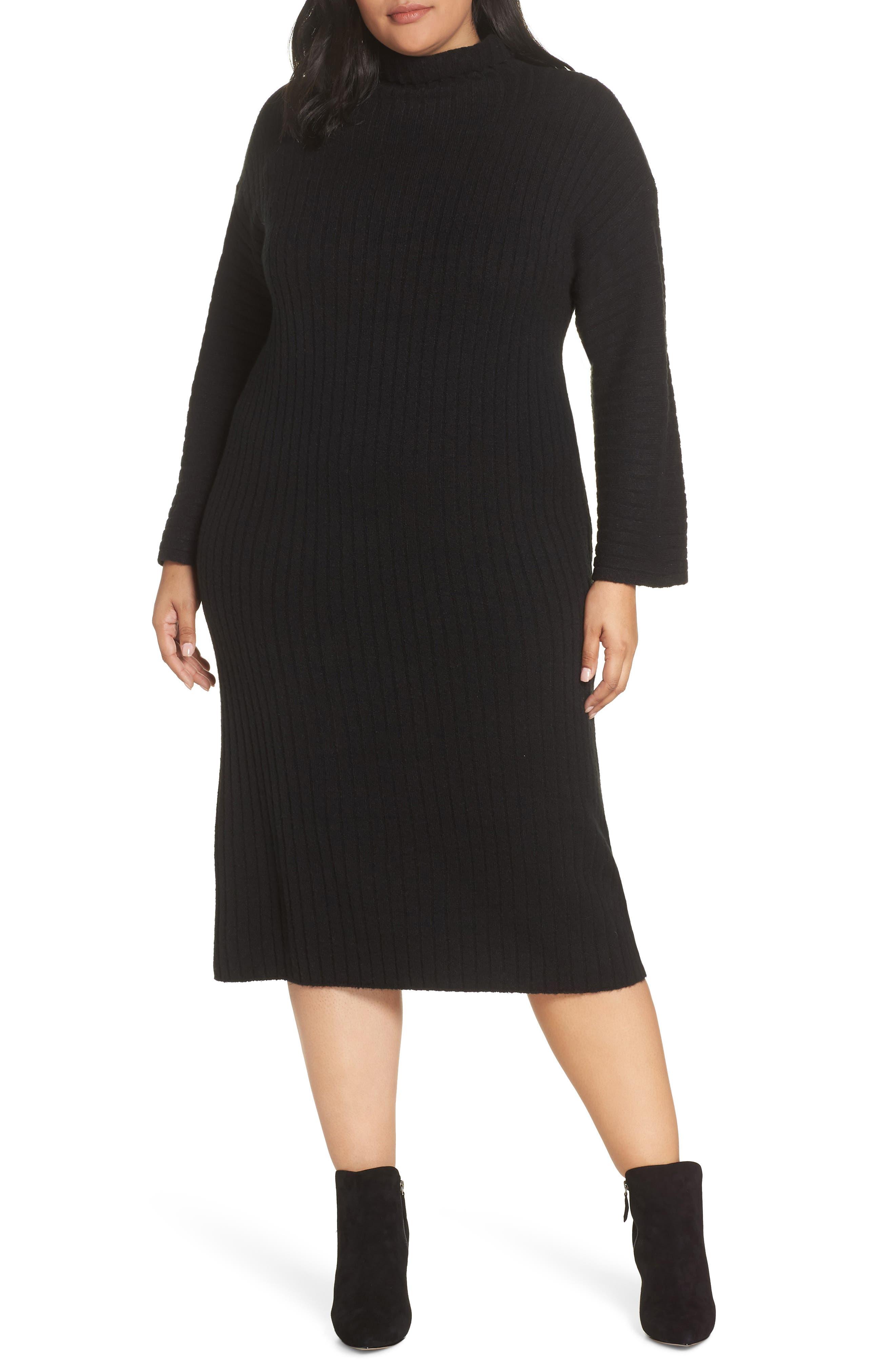 LEITH Ribbed Midi Sweater Dress, Main, color, BLACK
