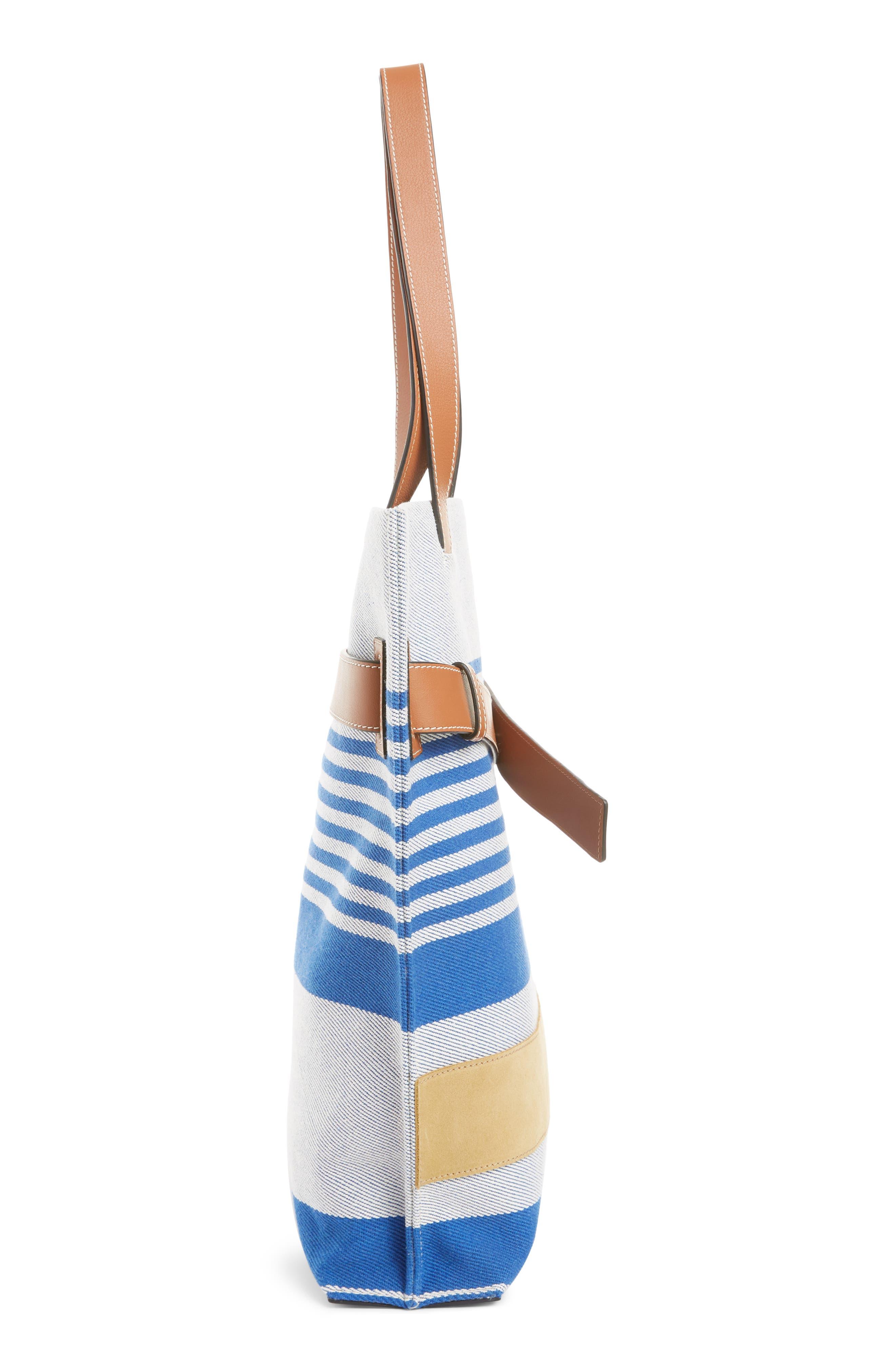 LOEWE, Stripe Twill Tote Bag, Alternate thumbnail 4, color, PACIFIC BLUE/MULTICOLOR