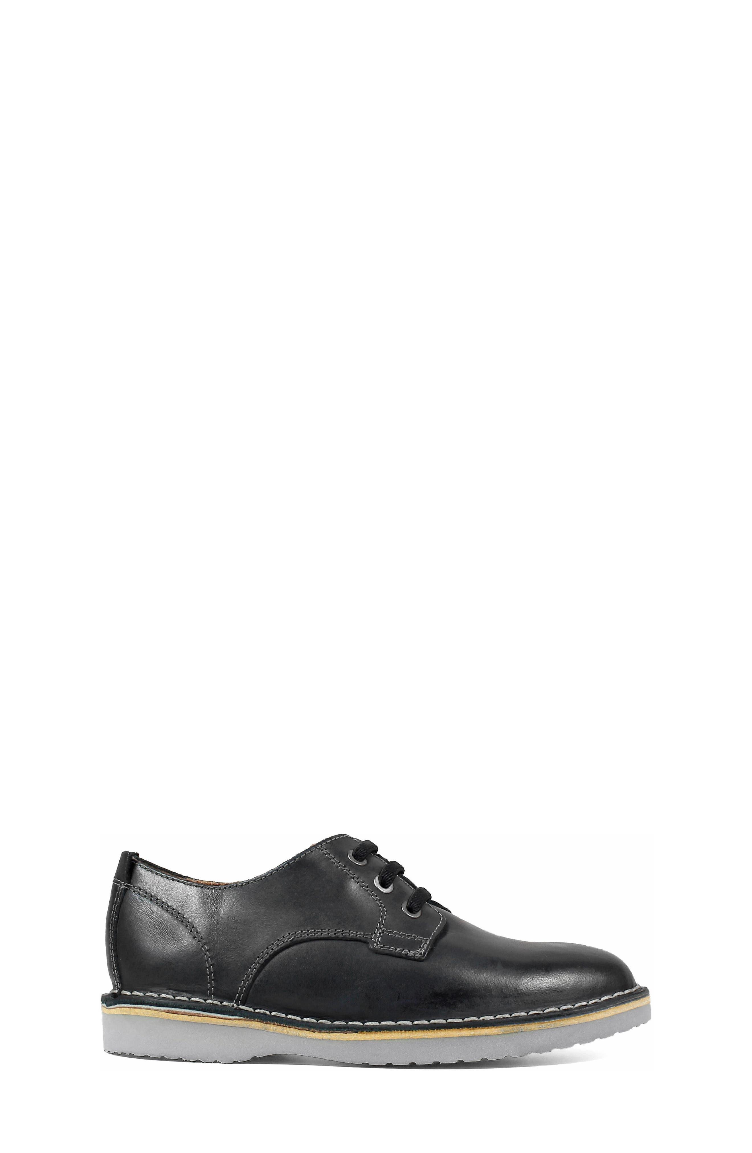 FLORSHEIM, Navigator JR Plain Toe Oxford, Alternate thumbnail 3, color, BLACK LEATHER