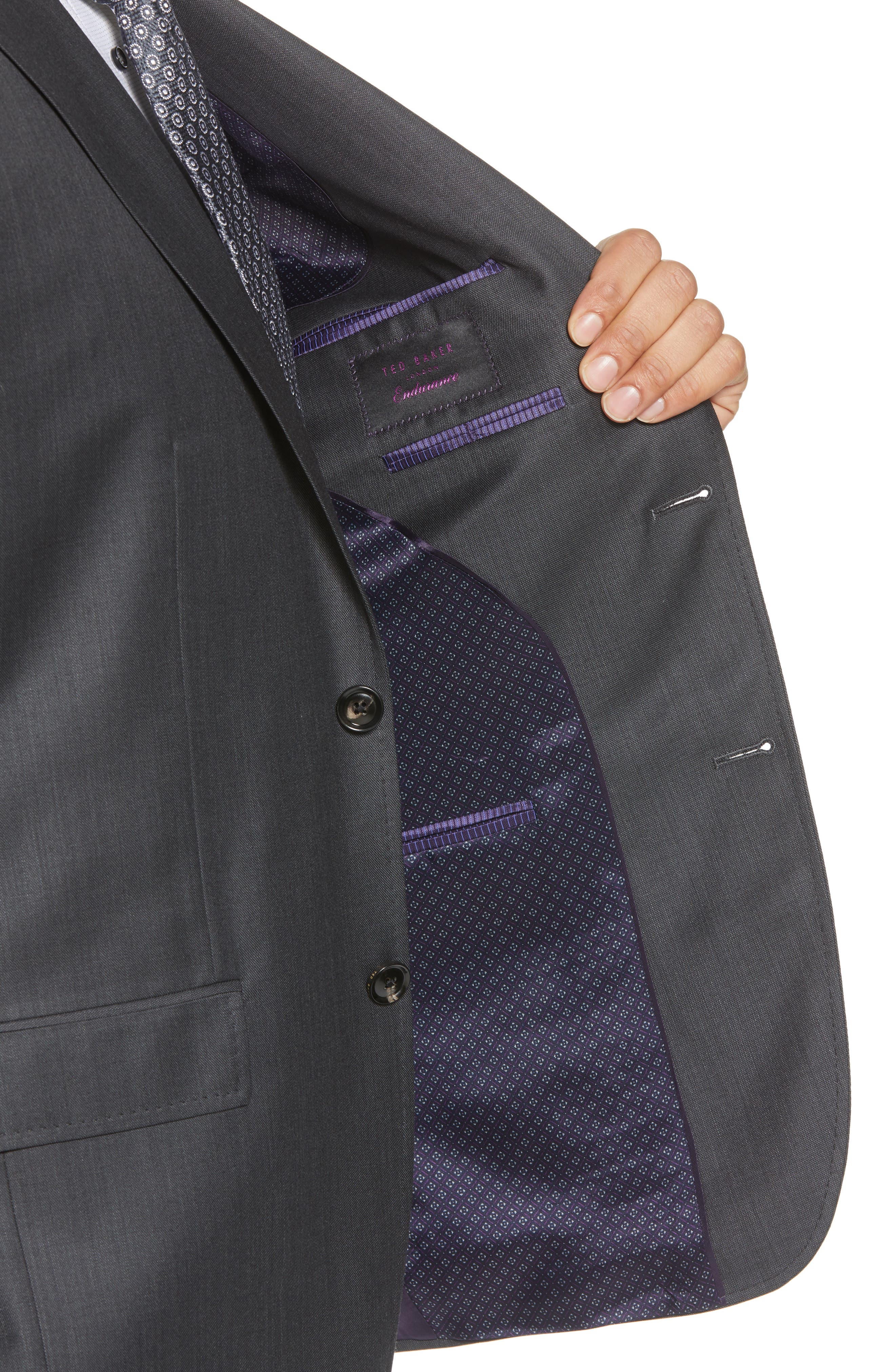 TED BAKER LONDON, ay' Trim Fit Solid Wool Suit, Alternate thumbnail 4, color, CHARCOAL