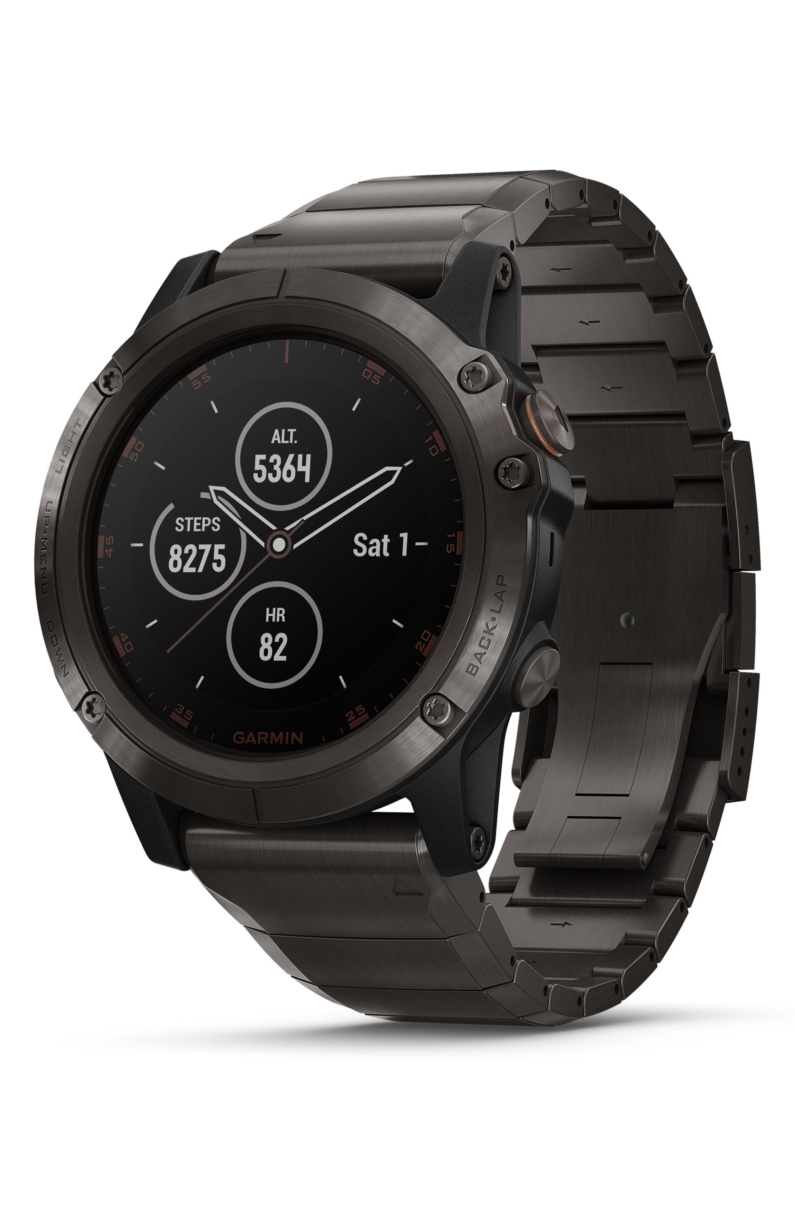 GARMIN, fenix<sup>®</sup> 5X Plus Sapphire Premium Multisport GPS Watch, 51mm, Main thumbnail 1, color, CARBON GRAY