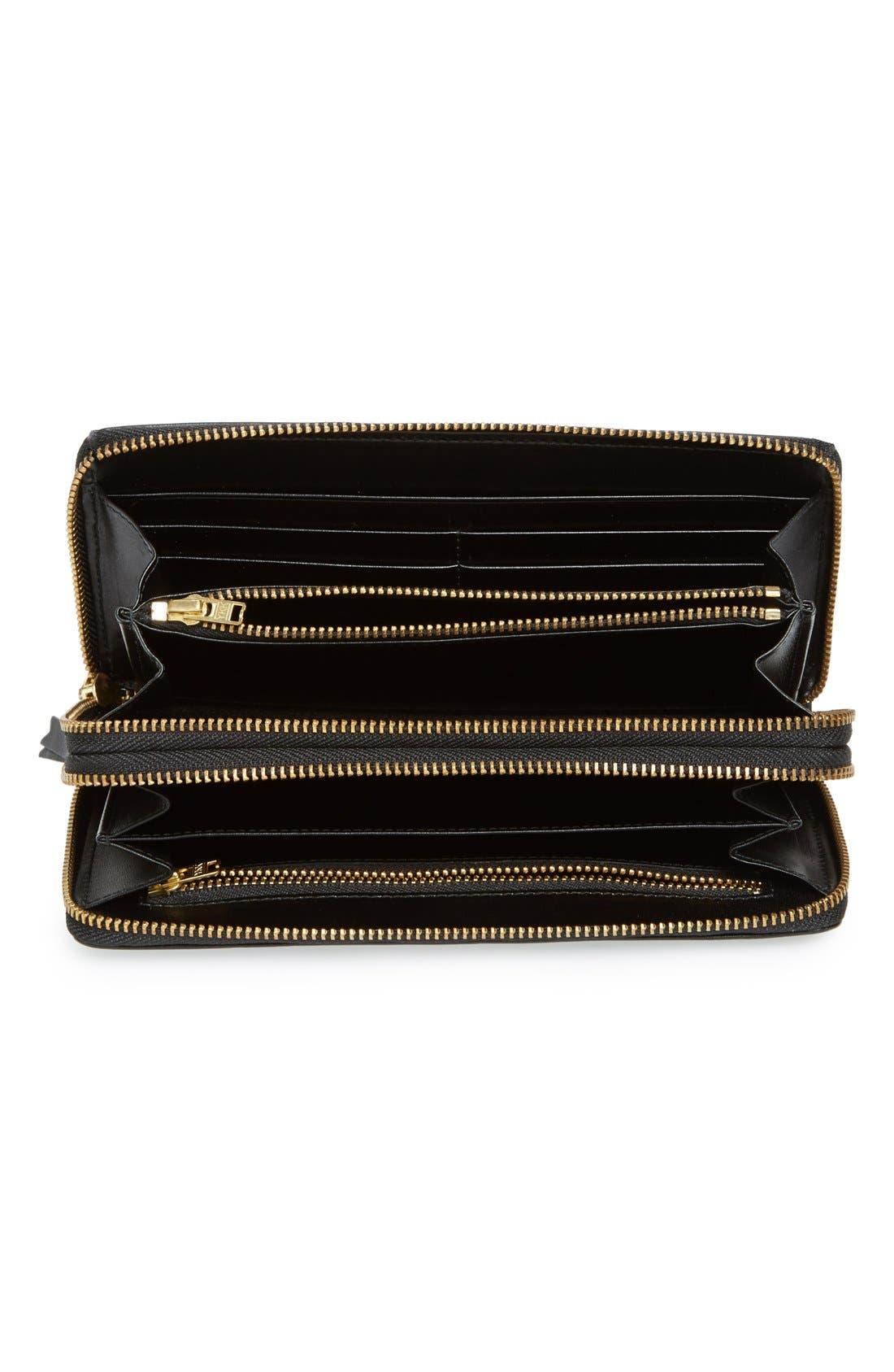 COMME DES GARÇONS, Leather Continental Long Wallet, Alternate thumbnail 2, color, BLACK