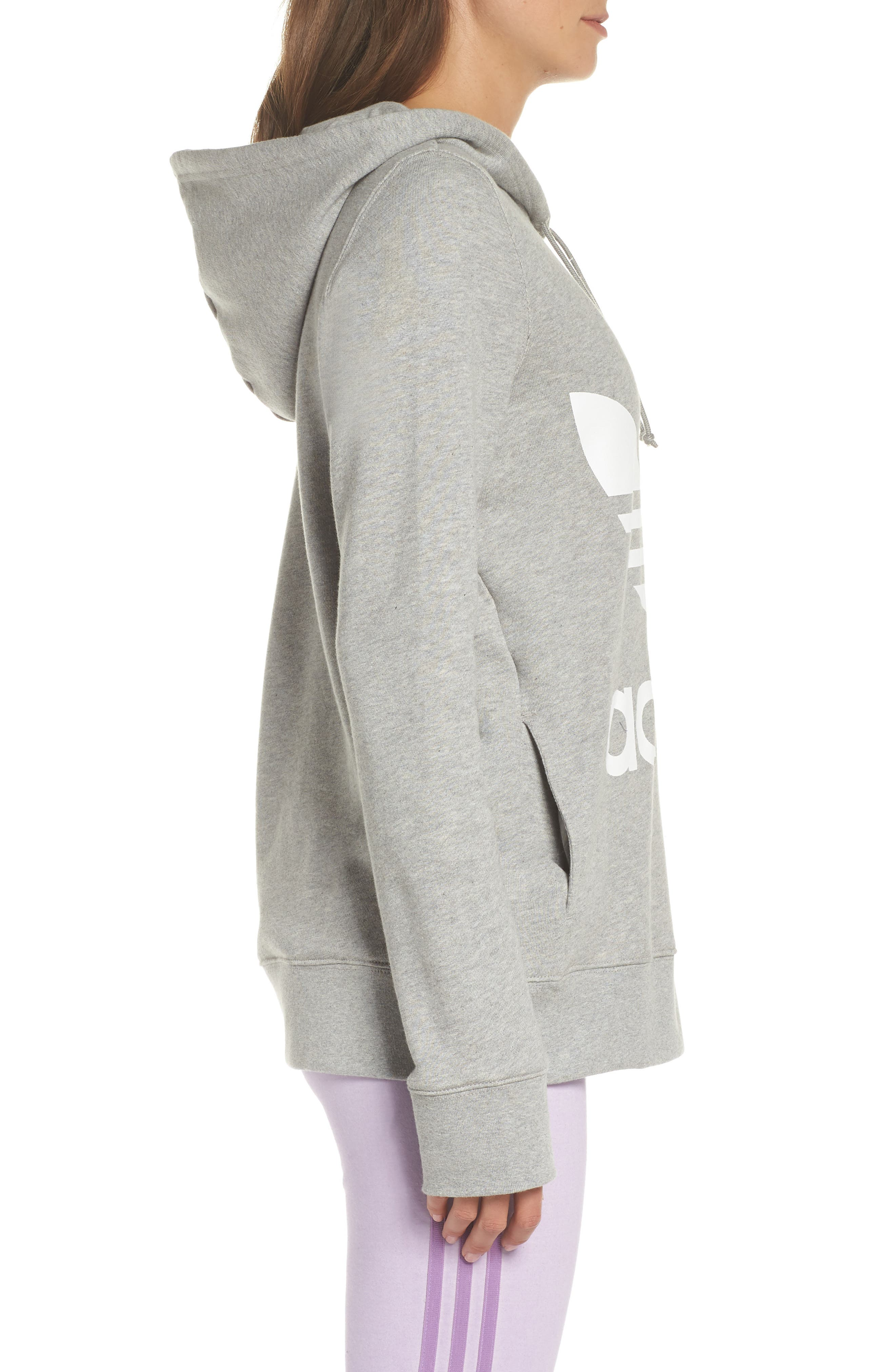 ADIDAS ORIGINALS, Trefoil Hoodie, Alternate thumbnail 4, color, MEDIUM GREY HEATHER