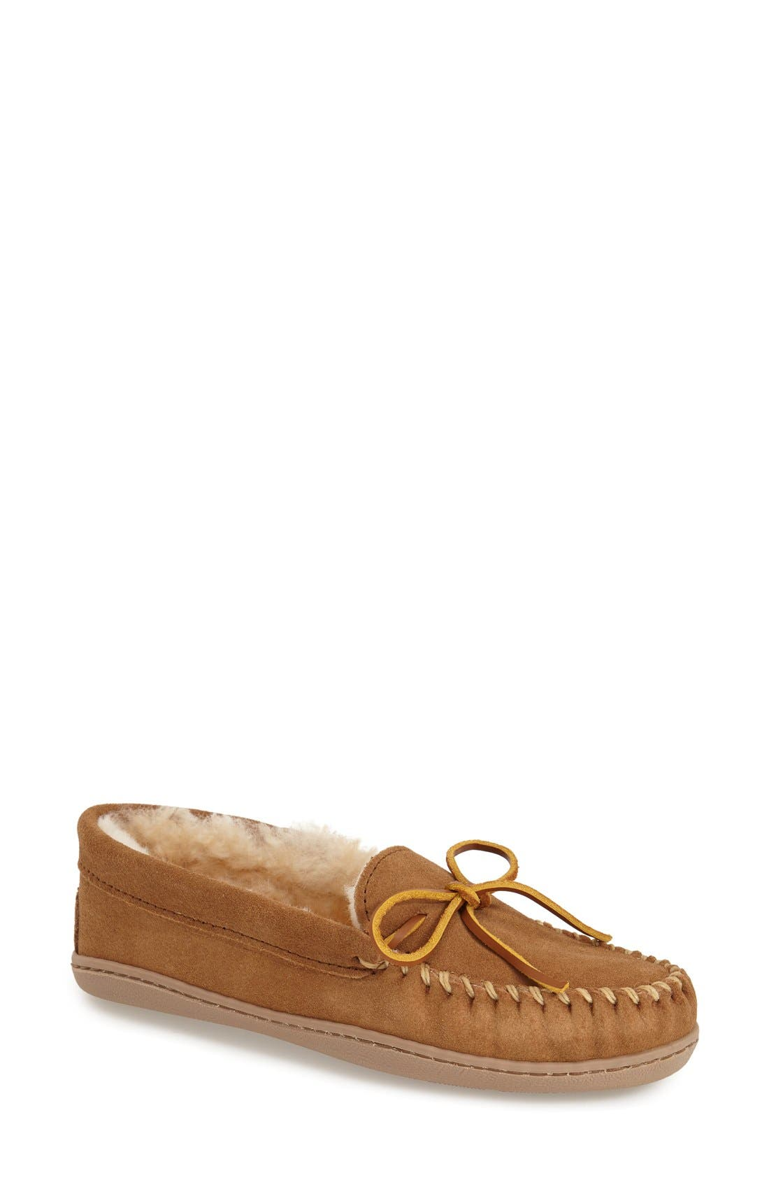 MINNETONKA, Sheepskin Hard Sole Moccasin Slipper, Main thumbnail 1, color, TAN SUEDE