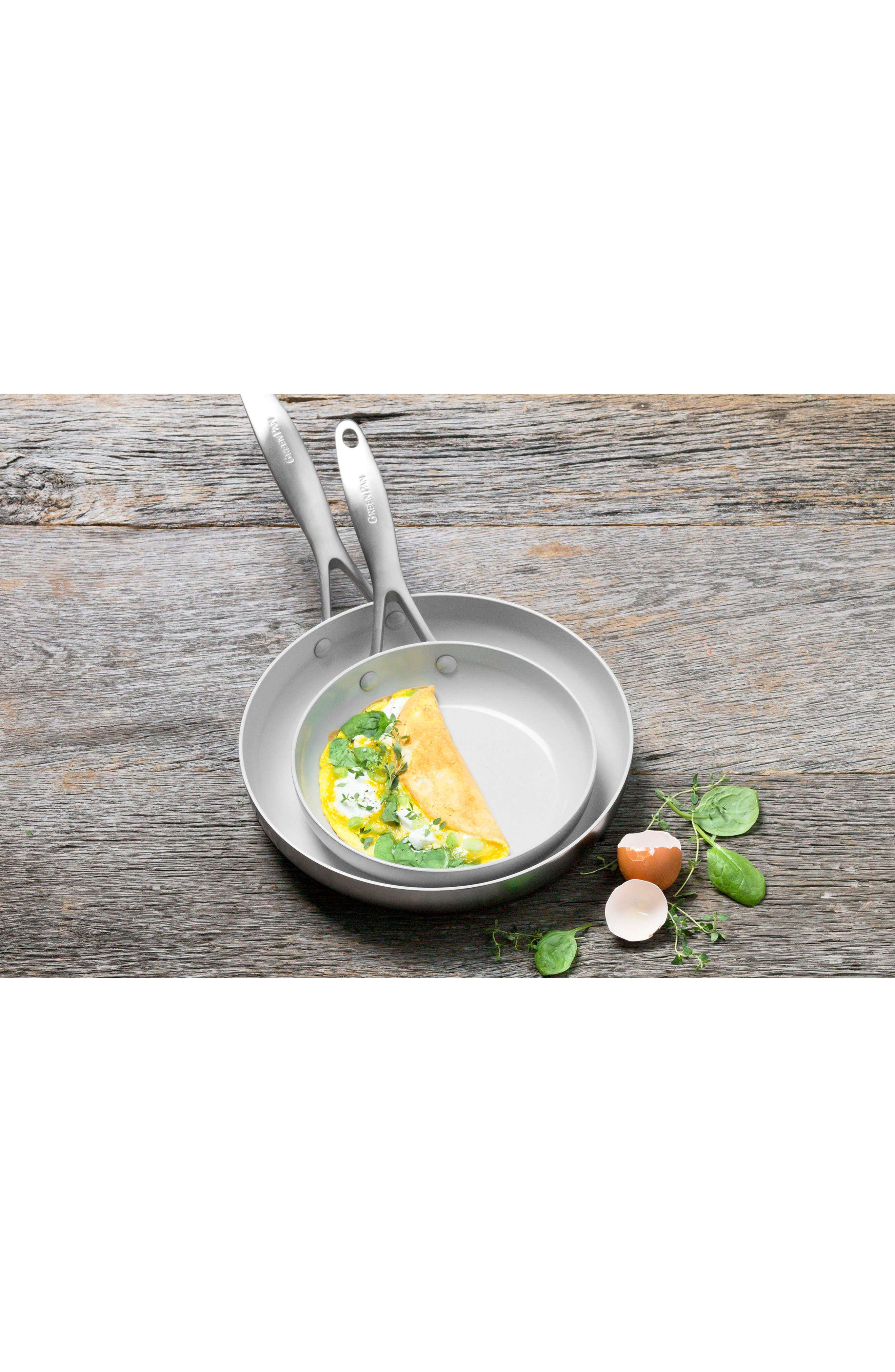 GREENPAN, Venice Pro 8-Inch & 10-Inch Multilayer Stainless Steel Ceramic Nonstick Frying Pan Set, Alternate thumbnail 6, color, STAINLESS STEEL