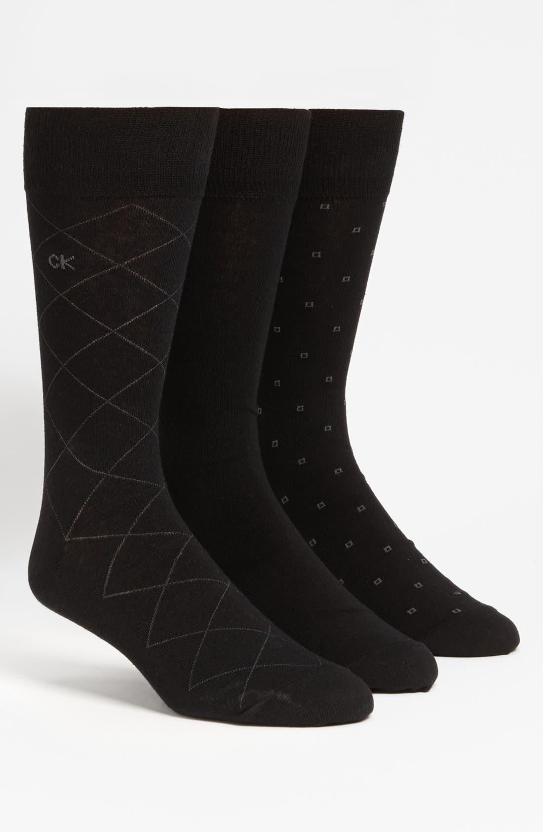 CALVIN KLEIN, 3-Pack Patterned Socks, Main thumbnail 1, color, BLACK