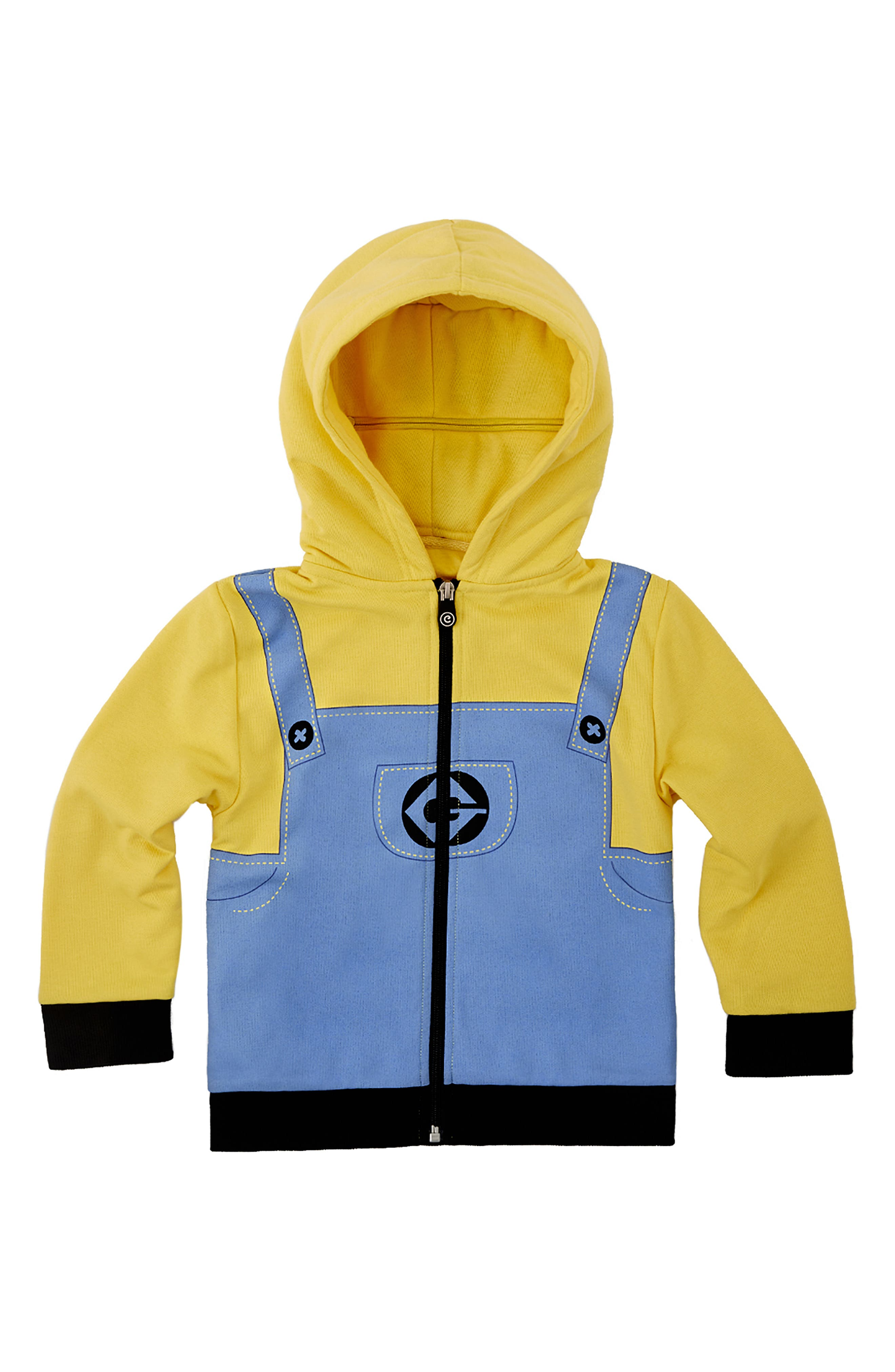 CUBCOATS, Minion Bob<sup>®</sup> 2-in-1 Stuffed Animal Hoodie, Alternate thumbnail 5, color, YELLOW / BLUE MIX