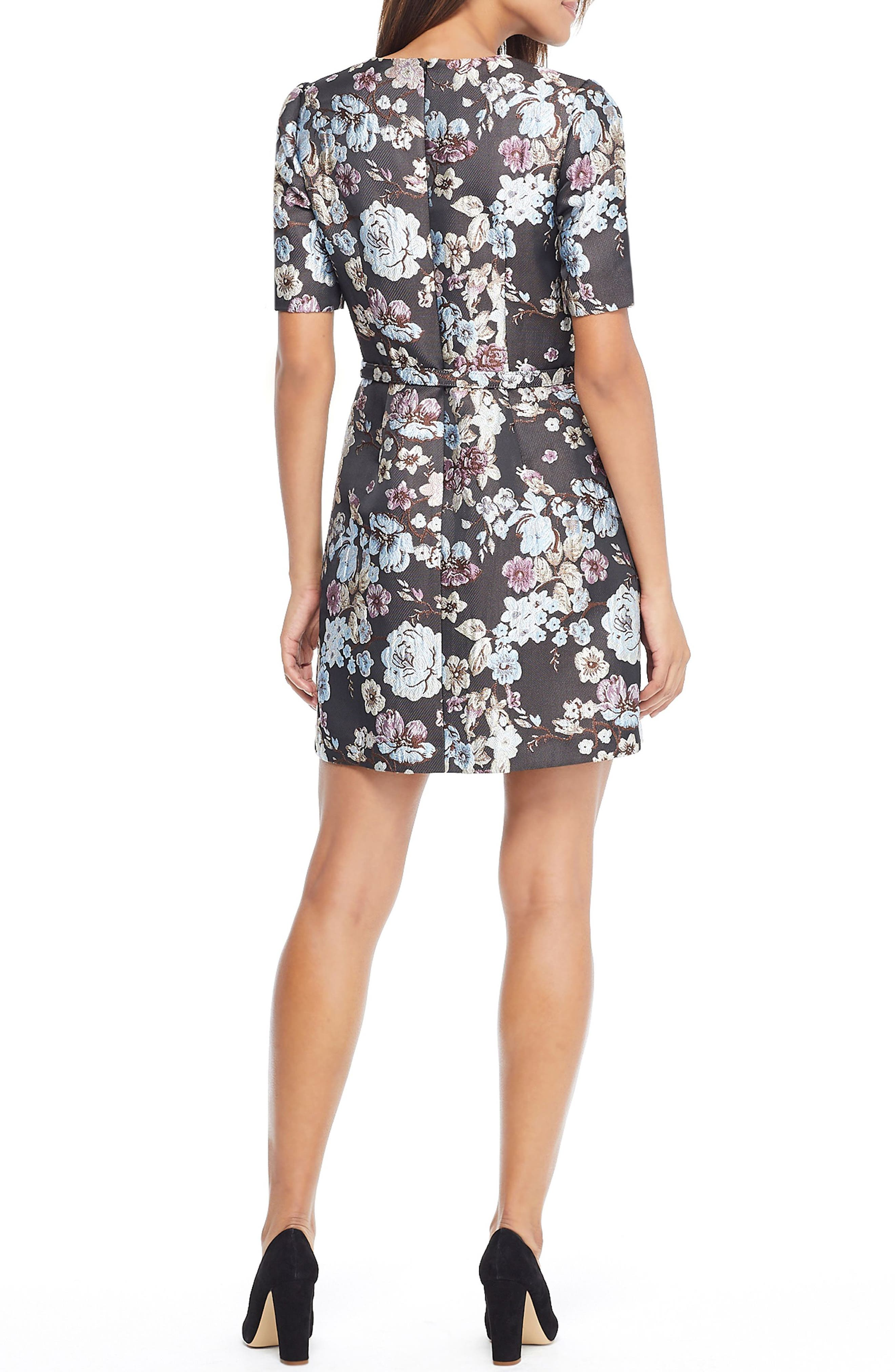 GAL MEETS GLAM COLLECTION, Presley Tapestry Jacquard Dress, Alternate thumbnail 2, color, BROWN MULTI