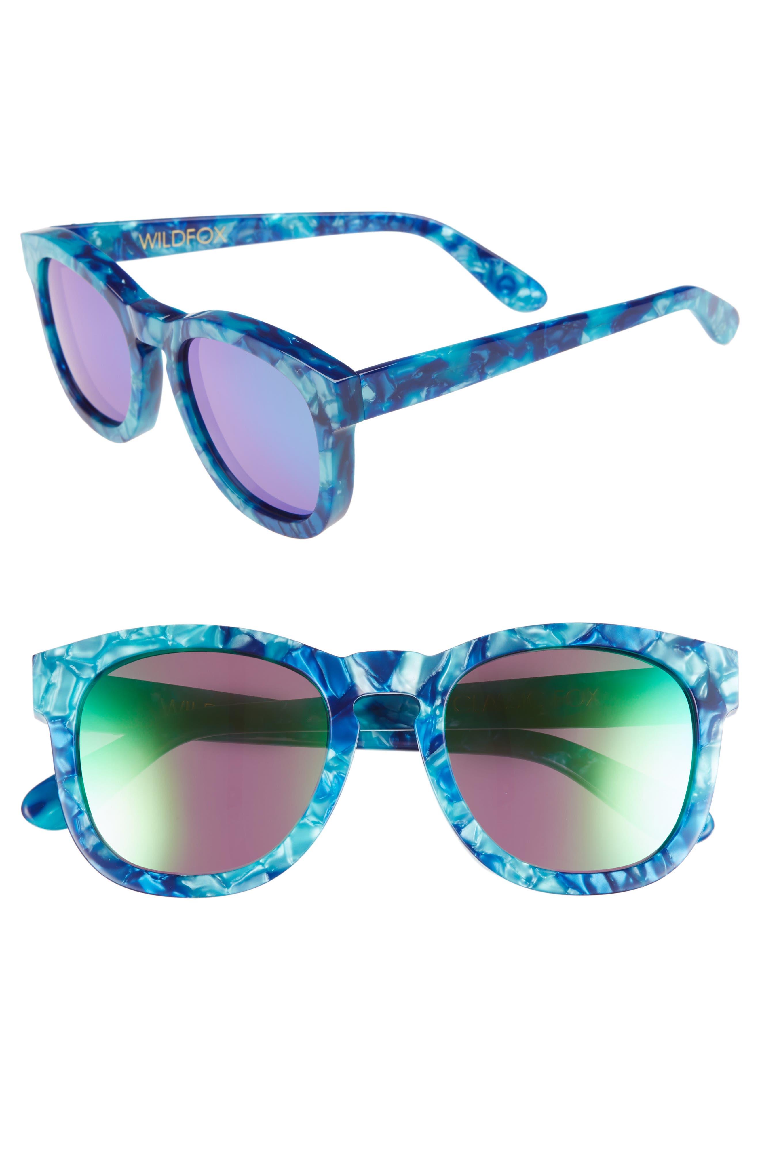 WILDFOX, Classic Fox - Deluxe 59mm Sunglasses, Main thumbnail 1, color, MONTEREY/ GREEN MIRROR