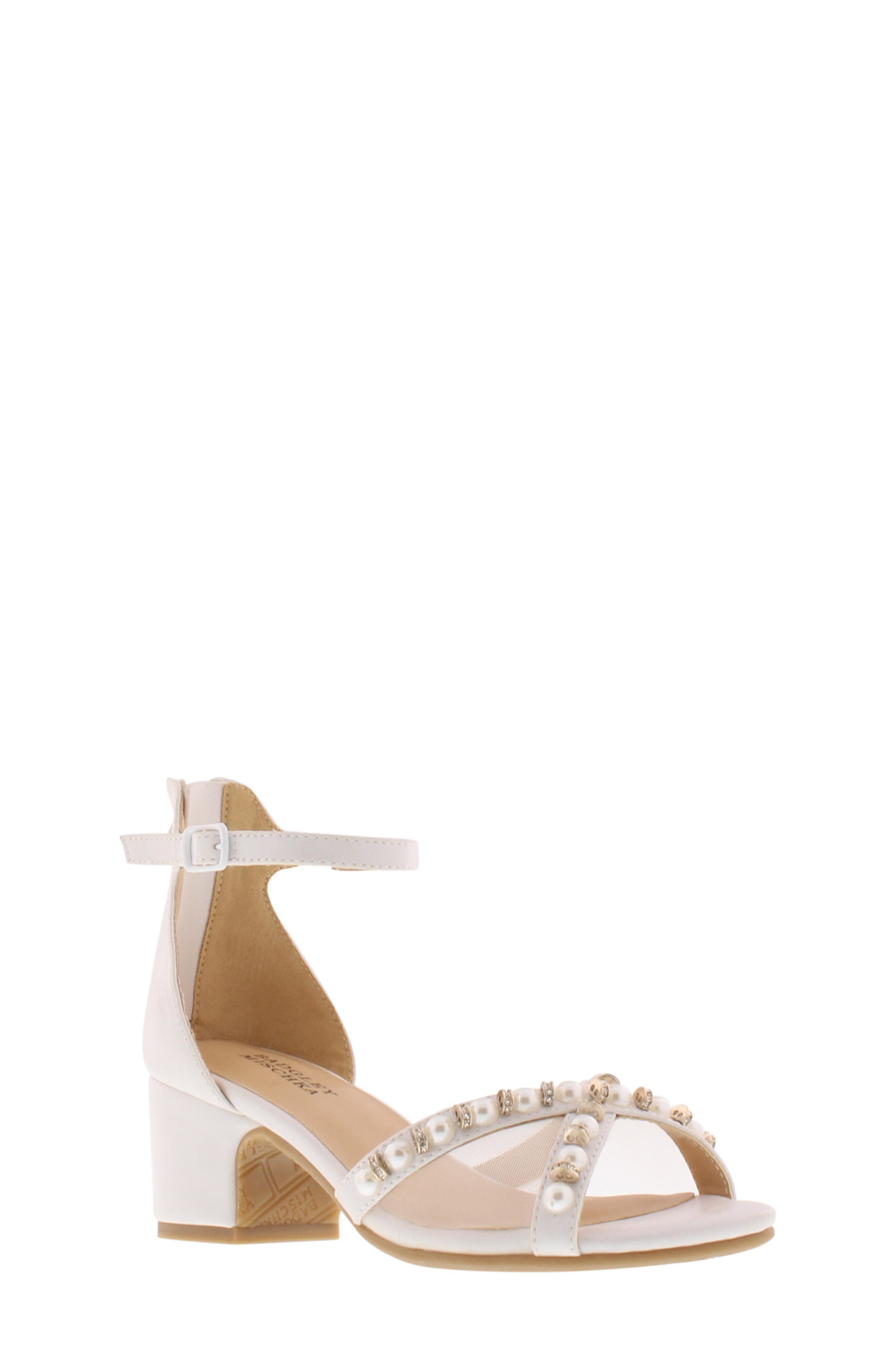 BADGLEY MISCHKA COLLECTION, Badgley Mischka Pernia Emily Embellished Sandal, Main thumbnail 1, color, WHITE SHIMMER
