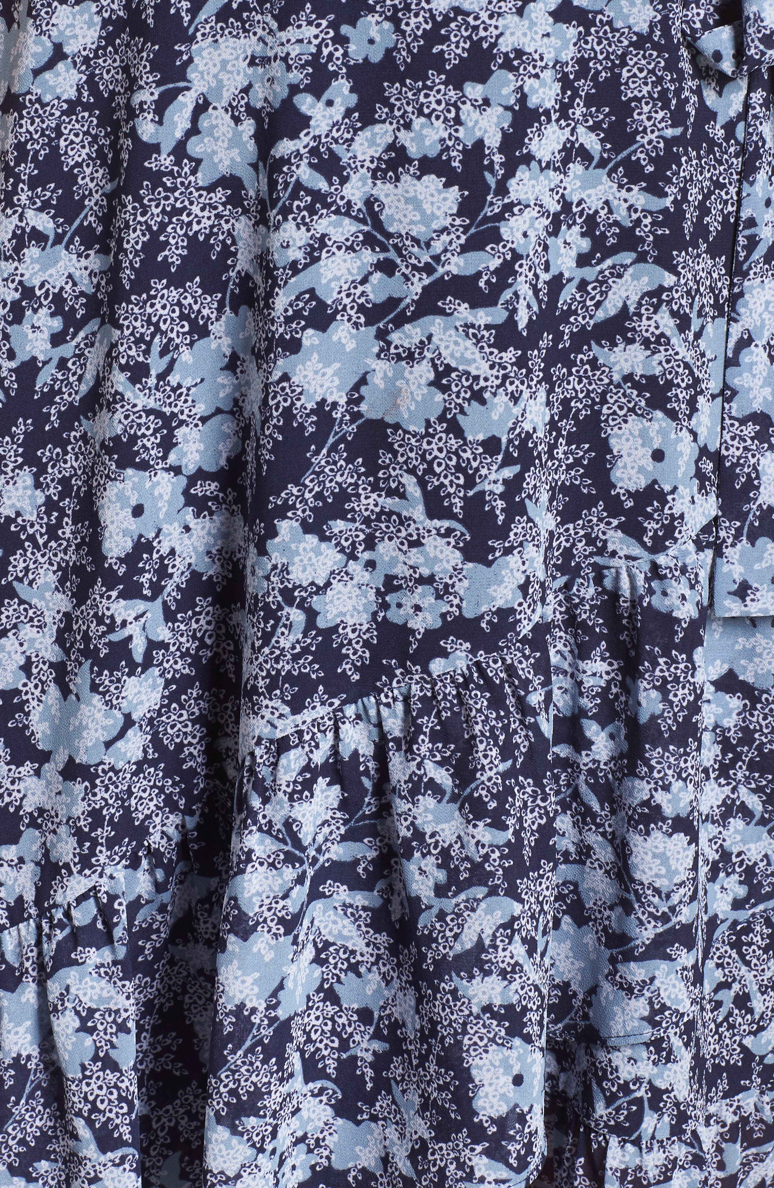 MICHAEL MICHAEL KORS, Ruffle Wrap Dress, Alternate thumbnail 6, color, TRUE NAVY/CHAMBRAY