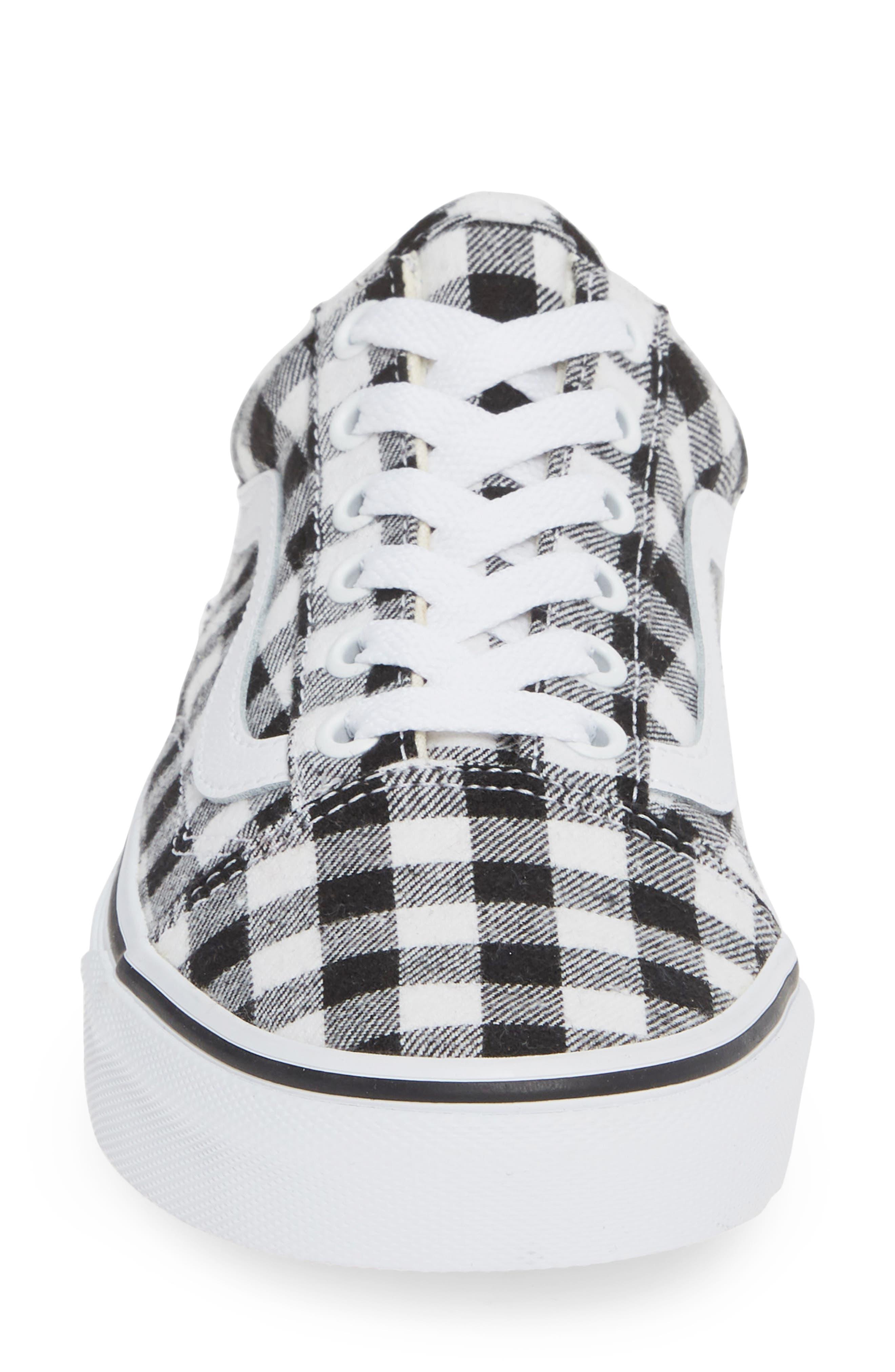 VANS, Old Skool Sneaker, Alternate thumbnail 4, color, GINGHAM BLACK/ TRUE WHITE