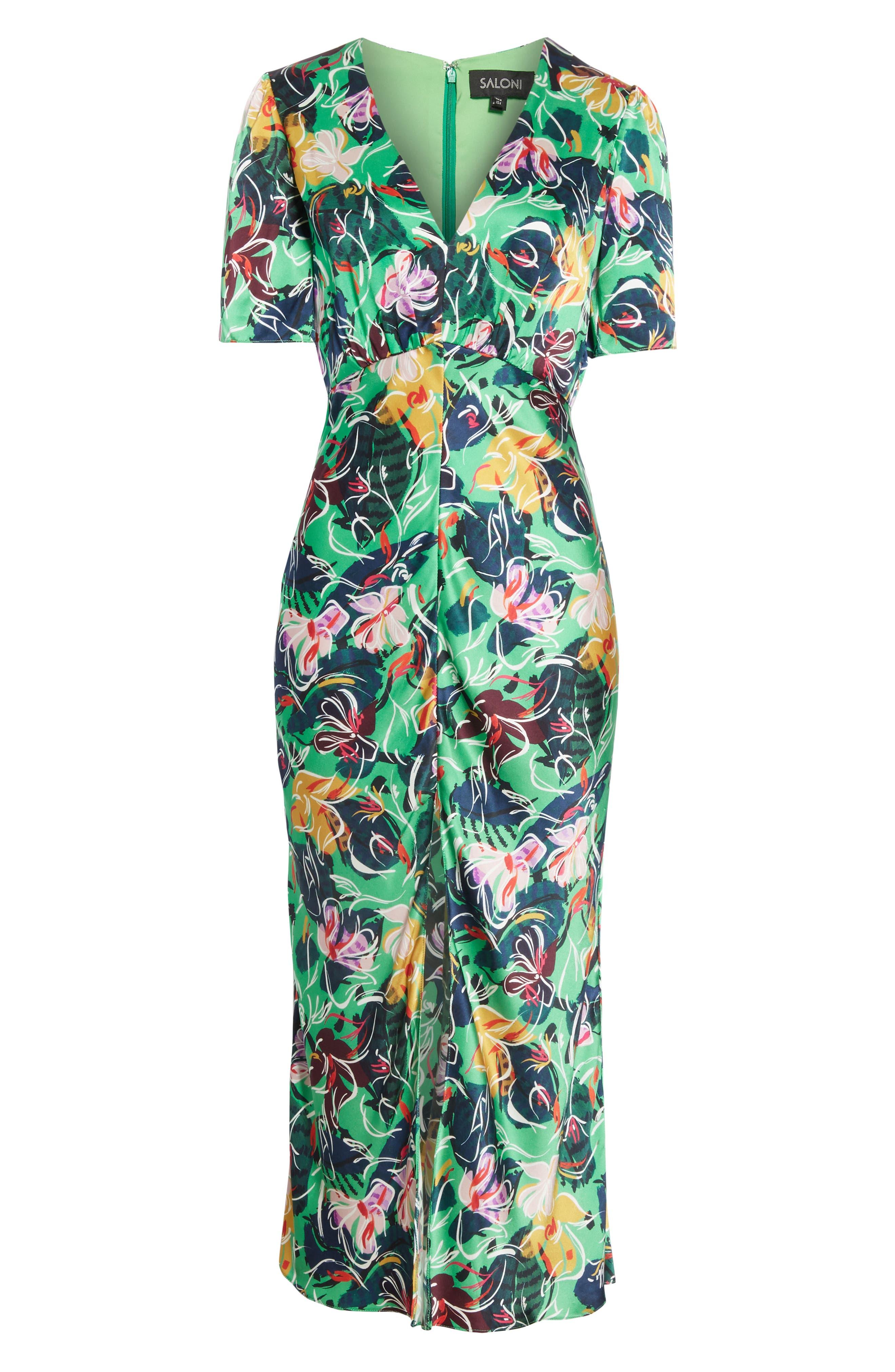 SALONI, Eden Floral Print Silk Midi Dress, Alternate thumbnail 6, color, EMERALD KINGCUP