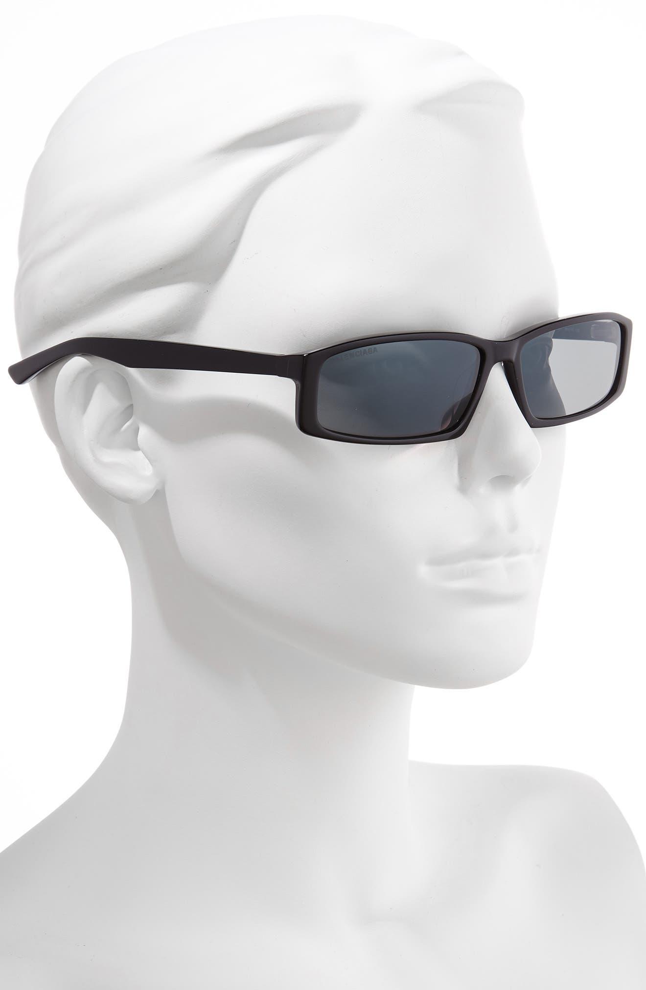 BALENCIAGA, 60mm Rectangle Sunglasses, Alternate thumbnail 2, color, SHINY BLACK/ GREY