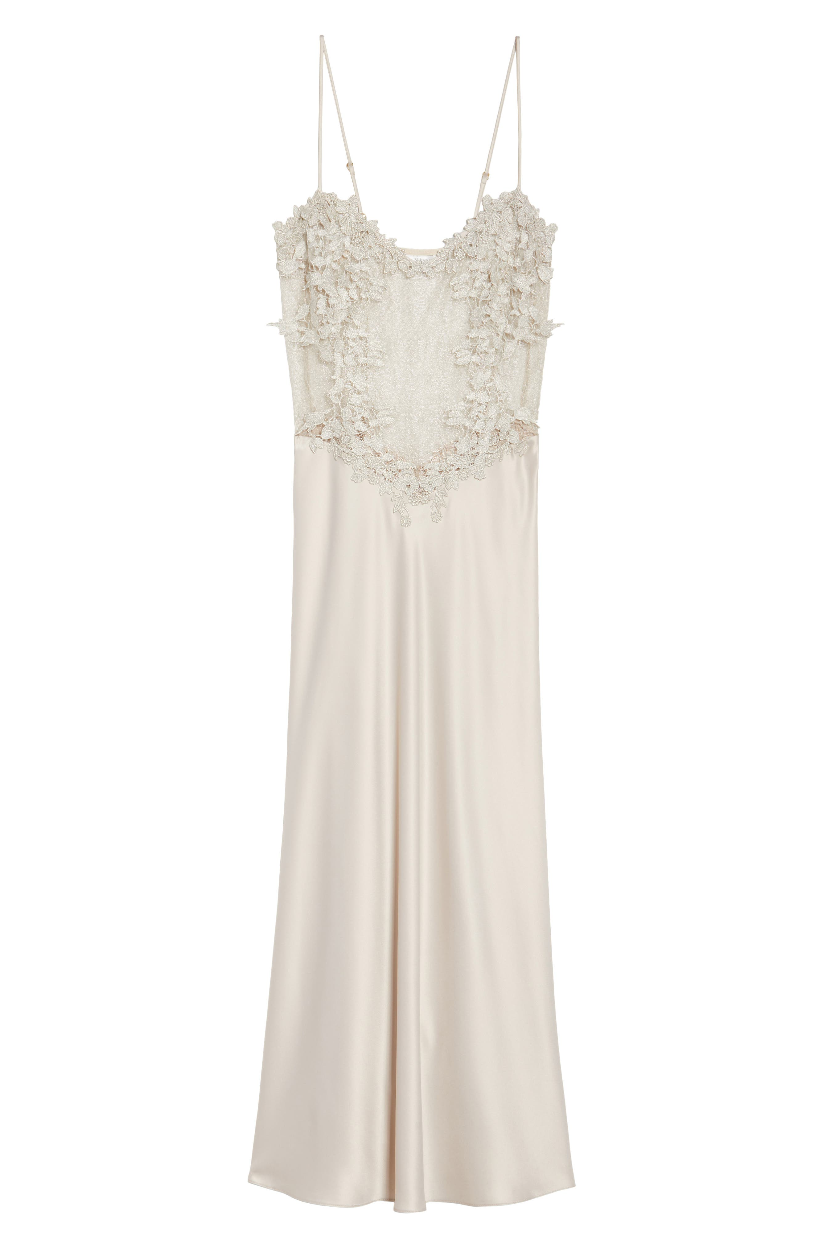 FLORA NIKROOZ, Showstopper Nightgown, Alternate thumbnail 6, color, CHAMPAGNE