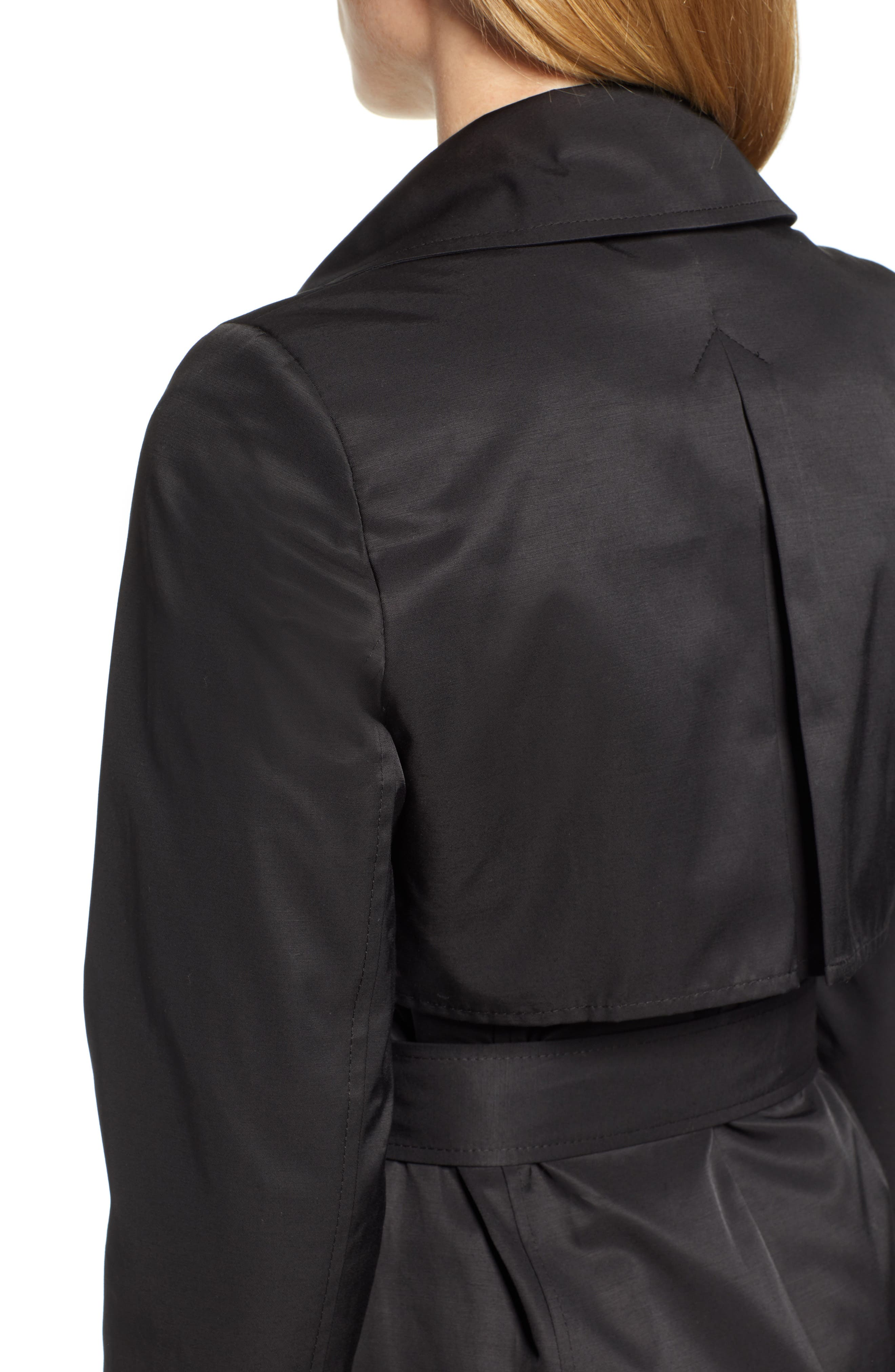 HALOGEN<SUP>®</SUP>, Hooded Trench Coat, Alternate thumbnail 5, color, BLACK