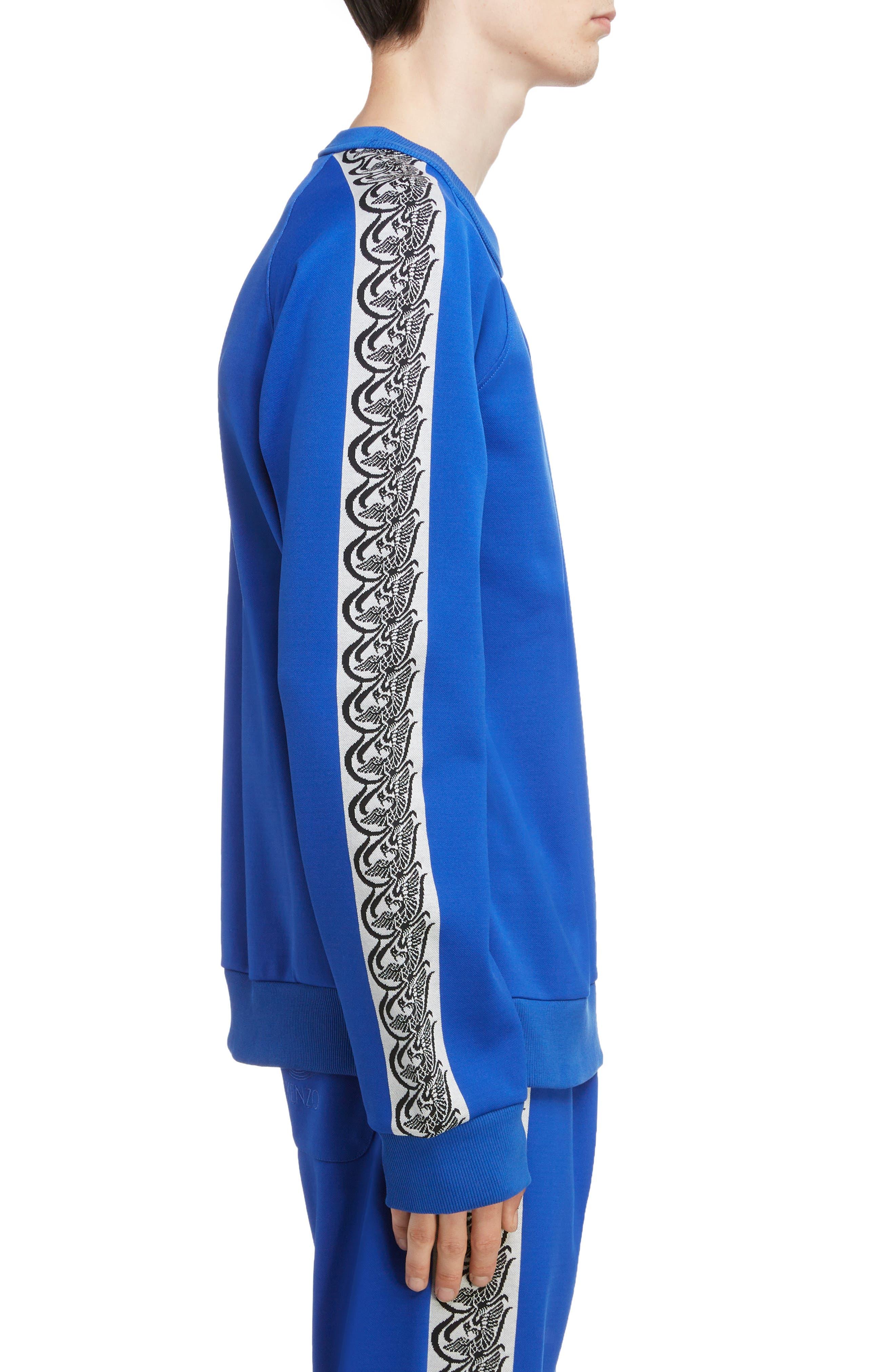 KENZO, Jacquard Raglan Sweatshirt, Alternate thumbnail 3, color, FRENCH BLUE