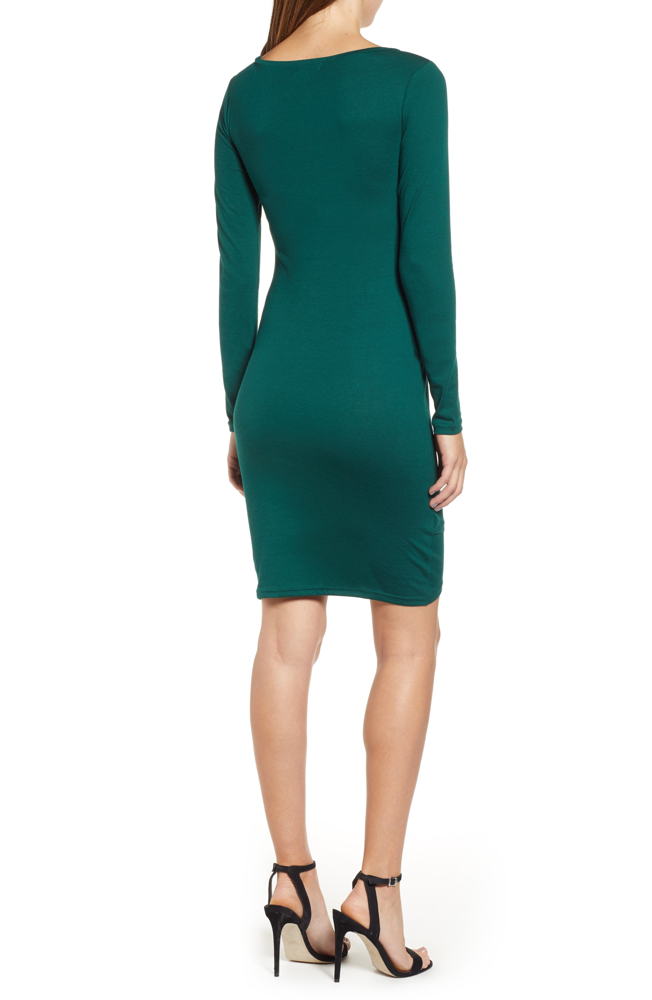 LEITH, Ruched Long Sleeve Dress, Alternate thumbnail 2, color, 302