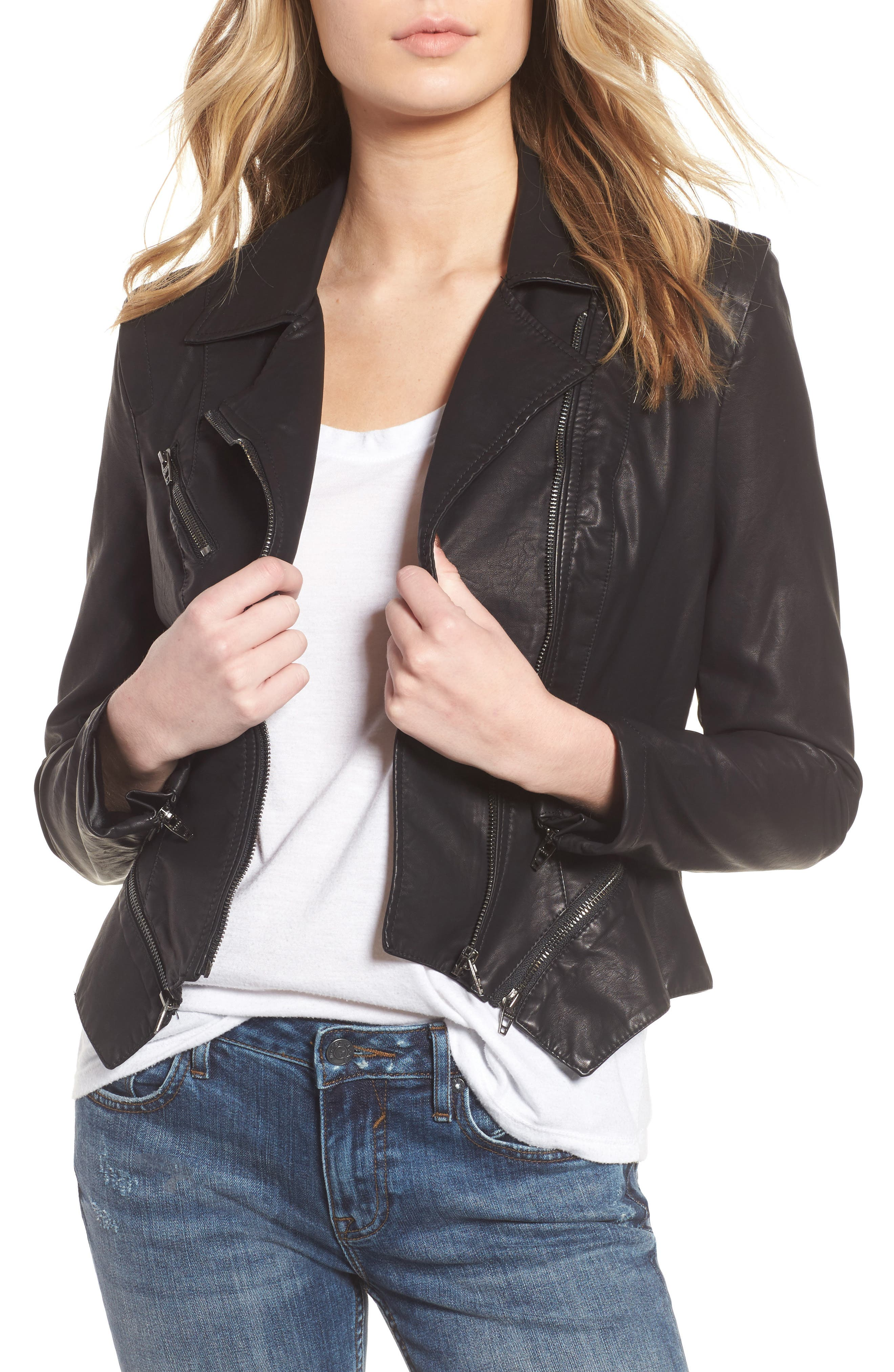 BLANKNYC, Faux Leather Moto Jacket, Main thumbnail 1, color, BLACK