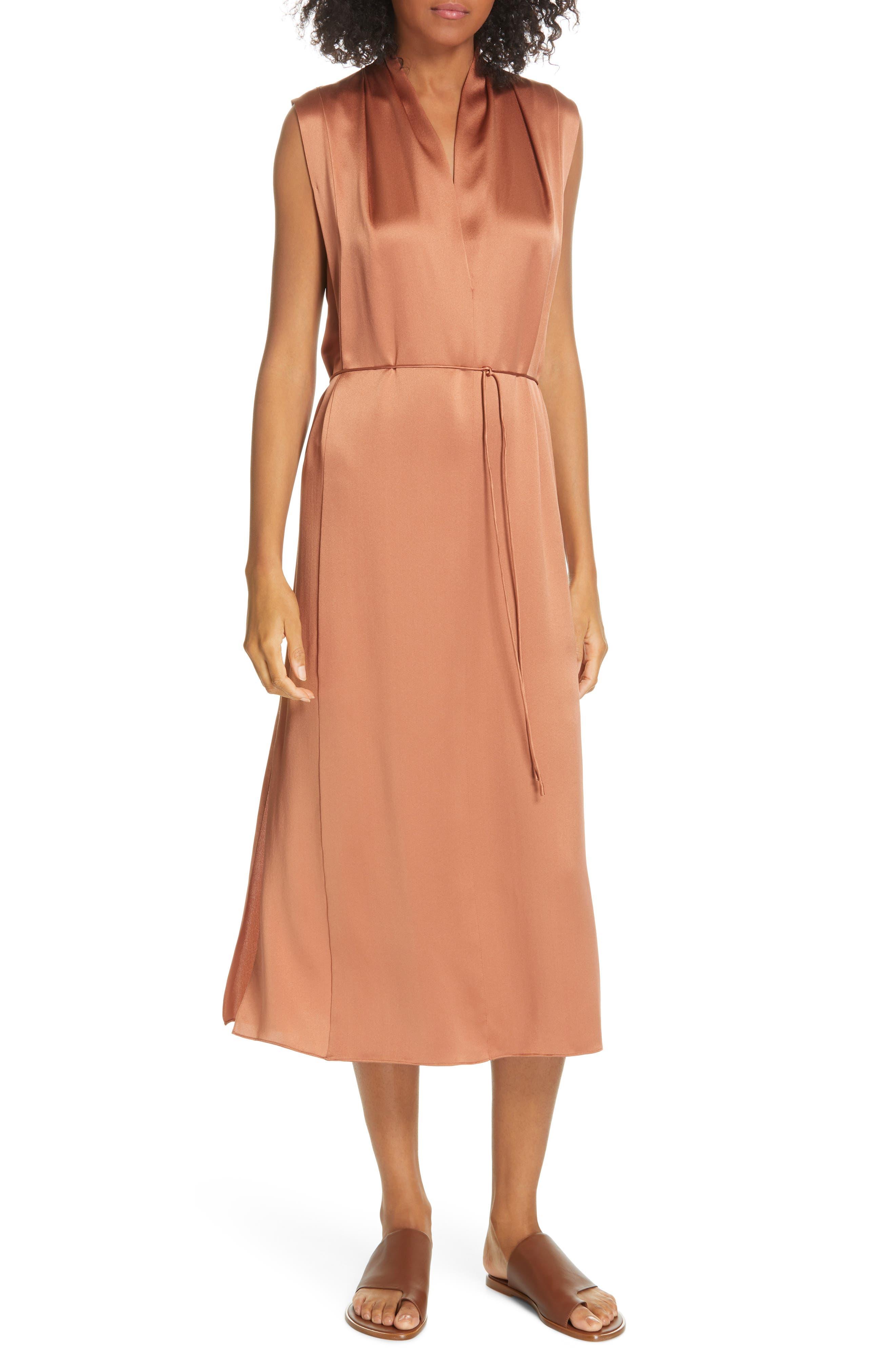 VINCE, Midi Silk Dress, Main thumbnail 1, color, CLIFF EMBER