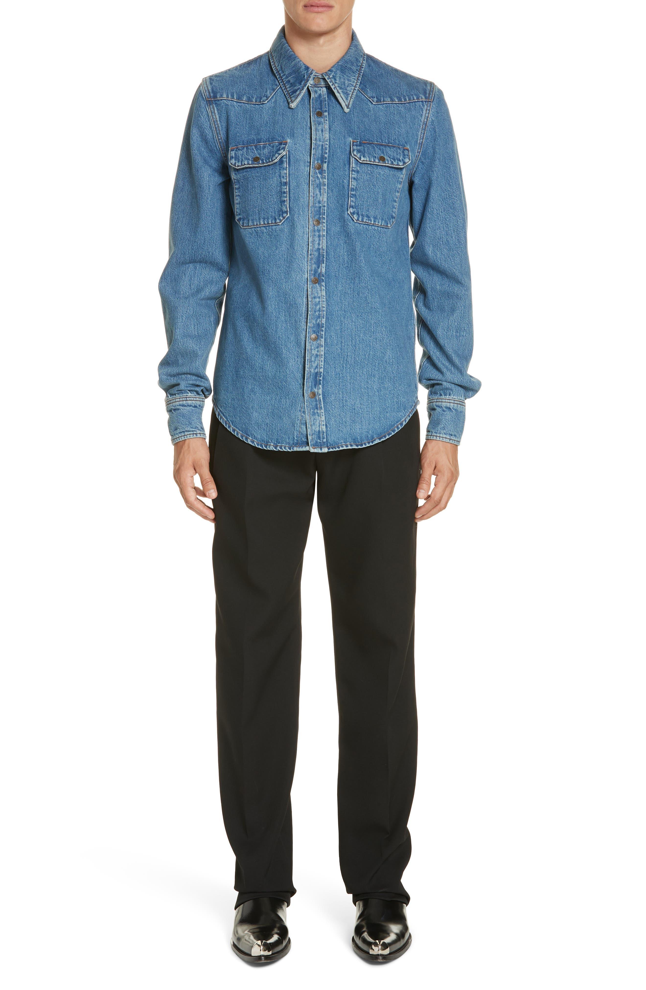 CALVIN KLEIN 205W39NYC, Denim Shirt, Alternate thumbnail 7, color, BLUE