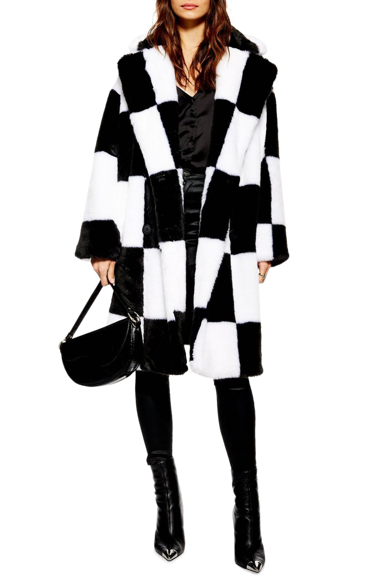 TOPSHOP, Checkerboard Faux Fur Coat, Main thumbnail 1, color, BLACK MULTI