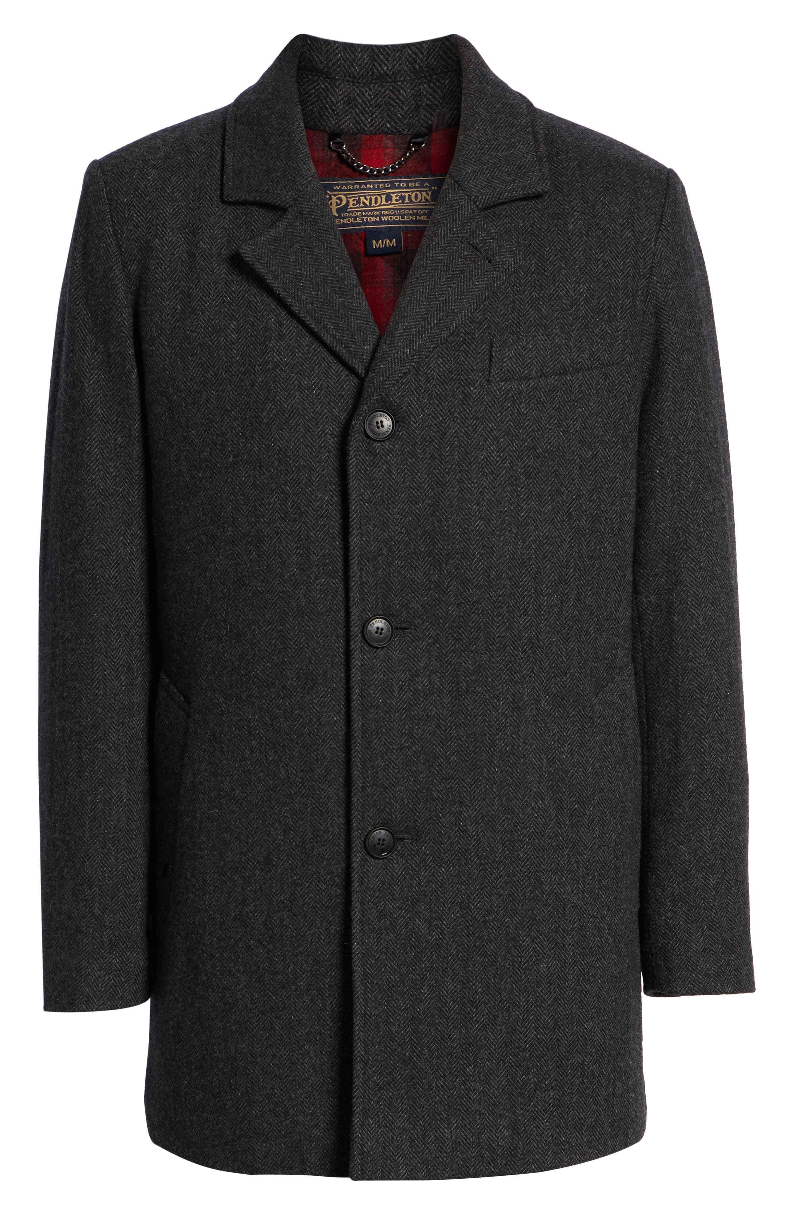 PENDLETON, Iconic Textures Manhattan Wool Blend Top Coat, Alternate thumbnail 6, color, CHARCOAL HERRINGBONE